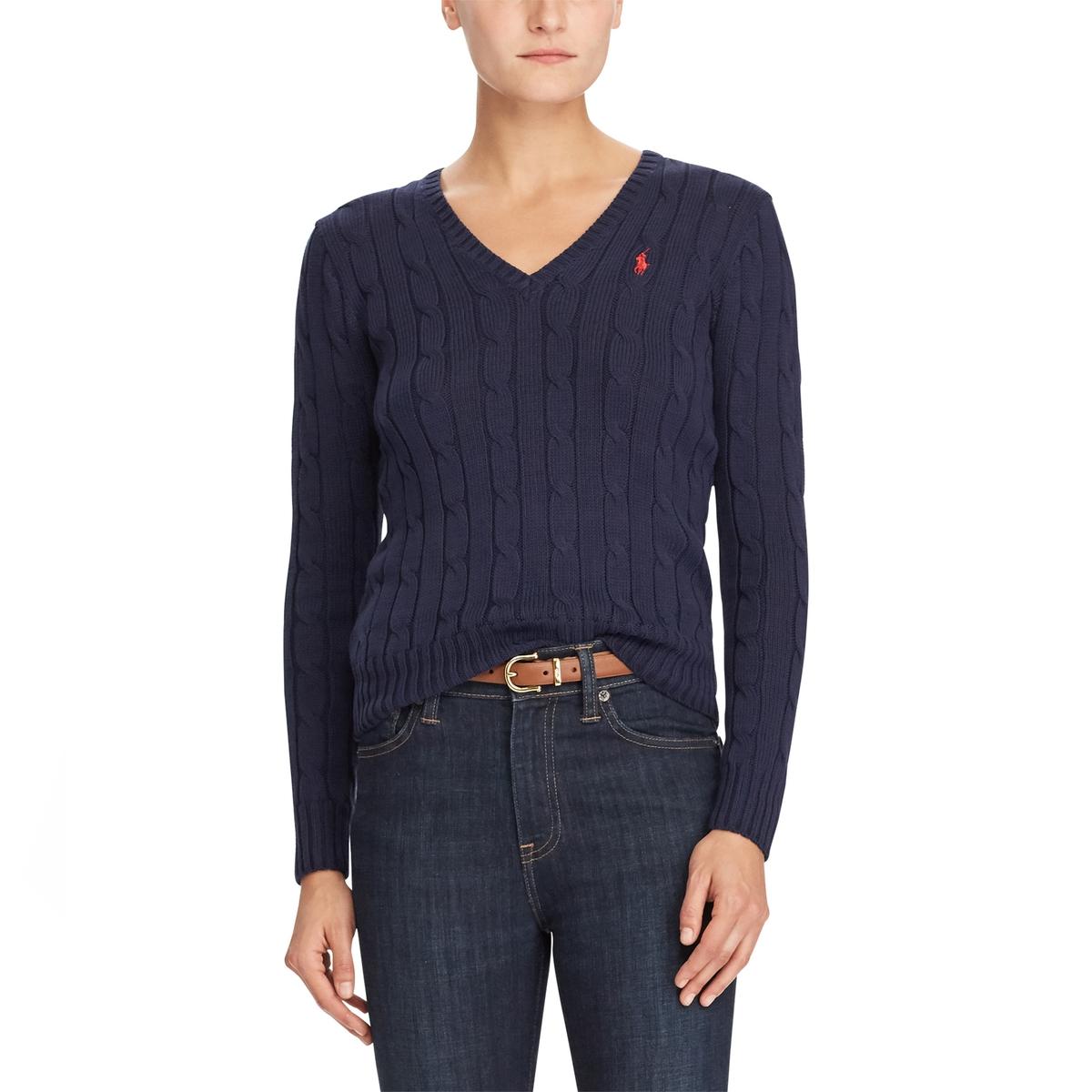 цена Пуловер La Redoute С V-образным вырезом из тонкого трикотажа XS синий онлайн в 2017 году