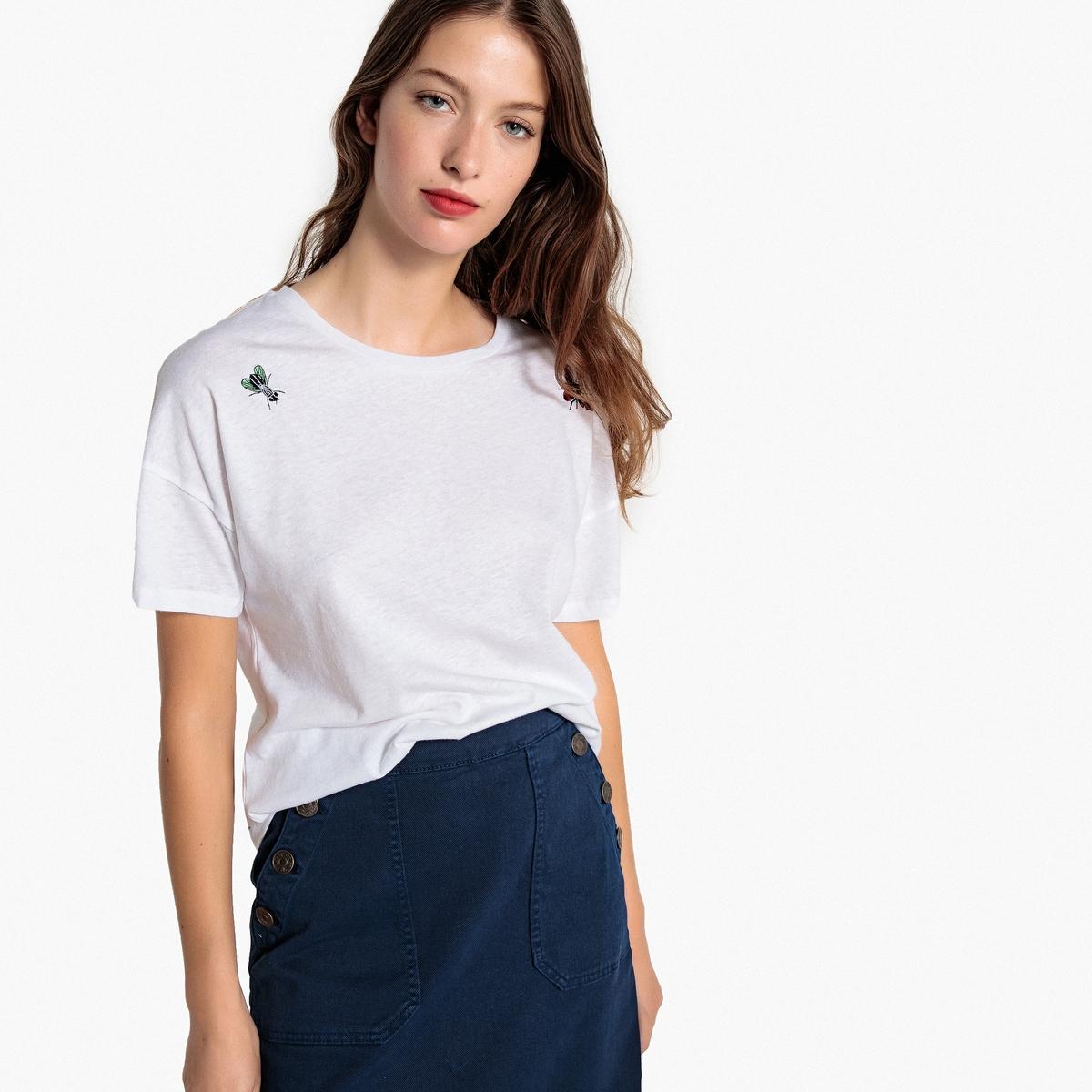 T-shirt de mangas curtas, bordado motivo insetos
