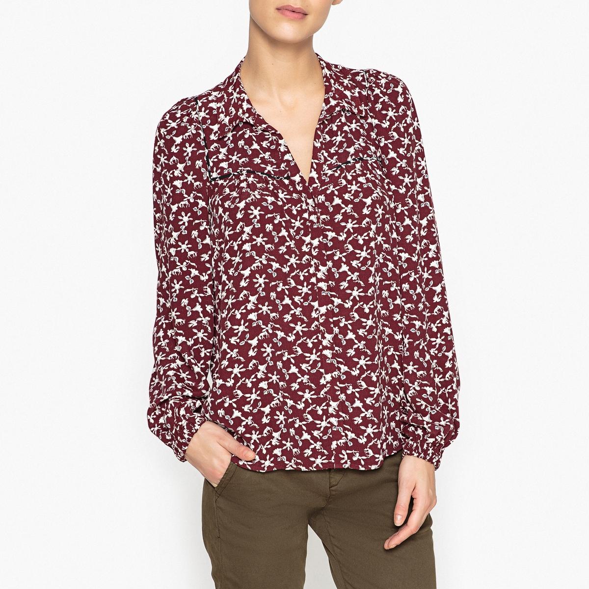 Рубашка с рисунком и рукавами-фонариками COLLIN