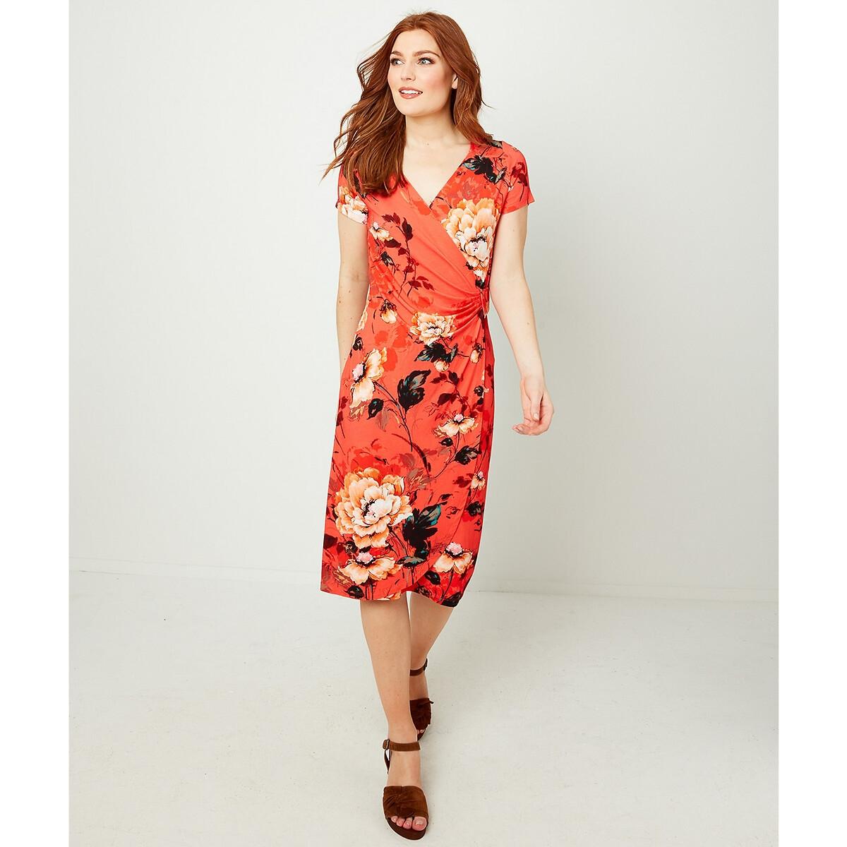 Платье La Redoute С запахом и цветочным принтом 38 (FR) - 44 (RUS) оранжевый платье la redoute с запахом и цветочным рисунком 46 fr 52 rus другие