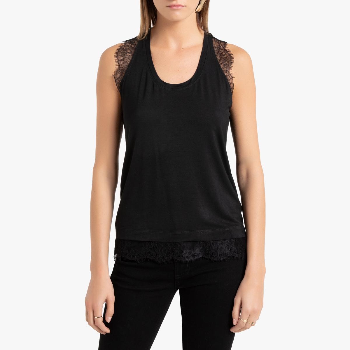 Блузка La Redoute С круглым вырезом без рукавов XS/S черный