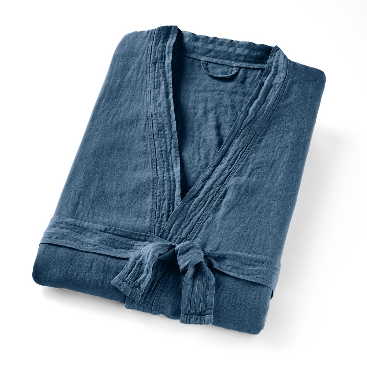 Пеньюар-кимоно La Redoute Из стираного льна 34/36 (FR) - 40/42 (RUS) синий штора затемняющая из стираного льна с кожаными шлевками private