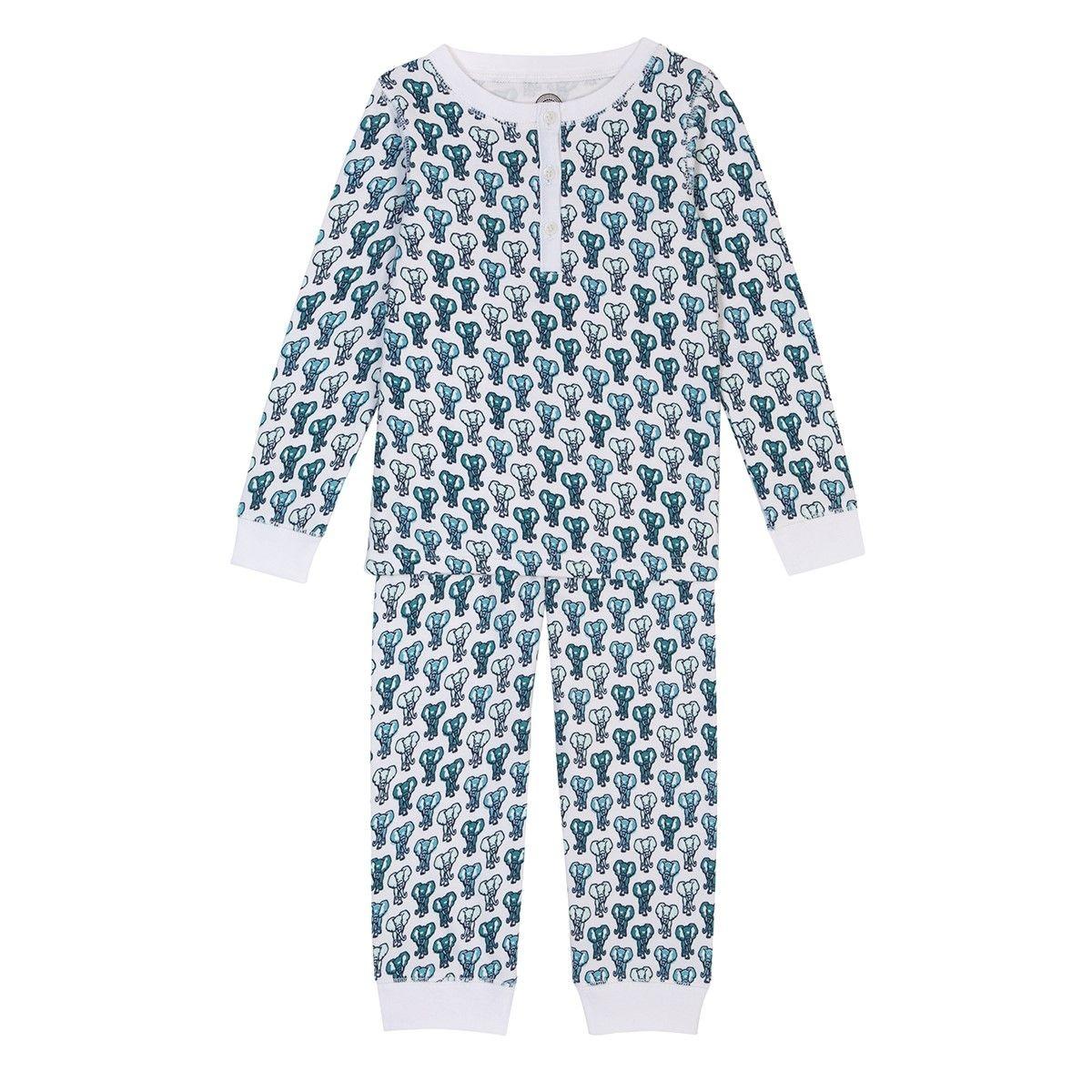 Pyjama enfant en coton bio - Imprimé Eléphant vert