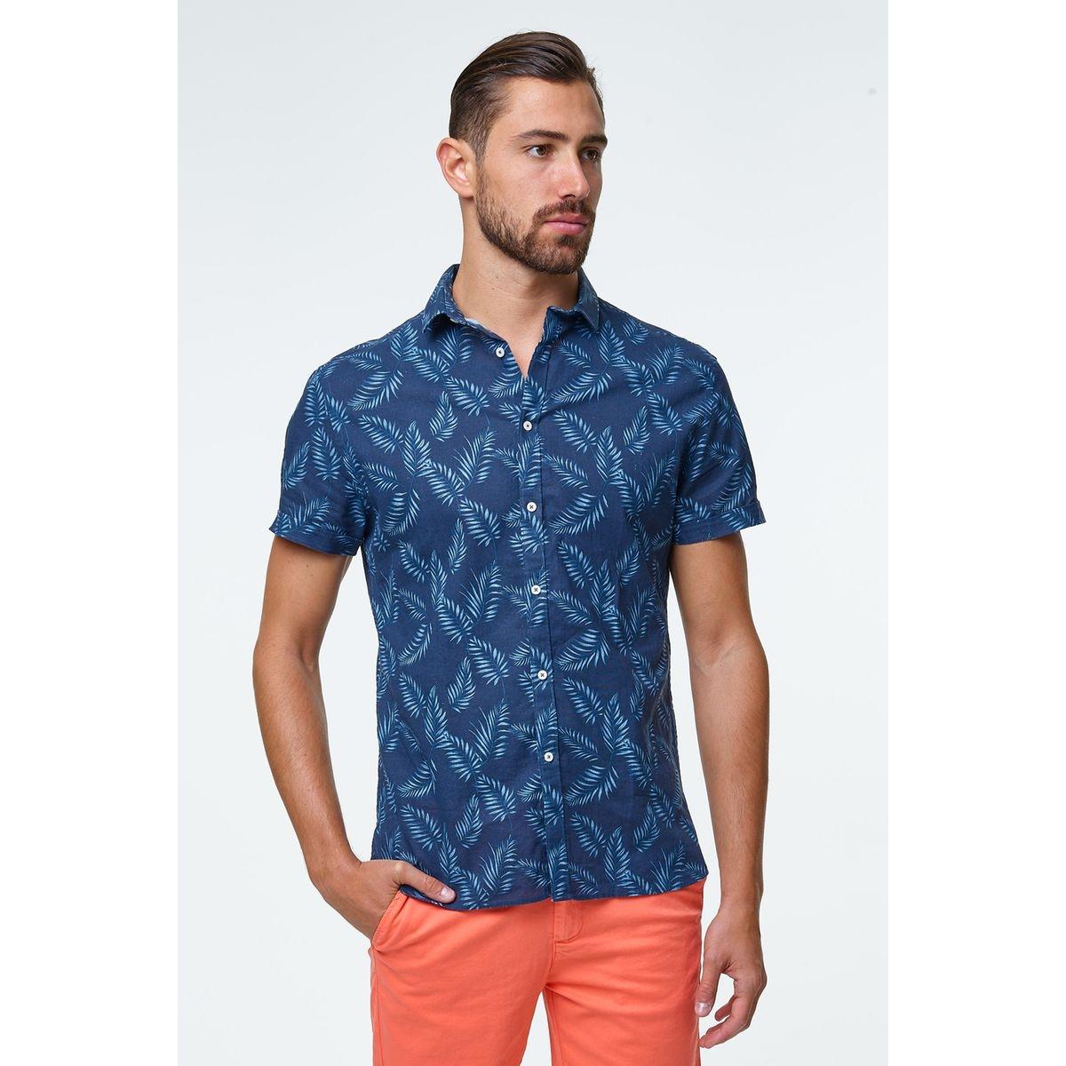 chemisette lin imprimee palmes