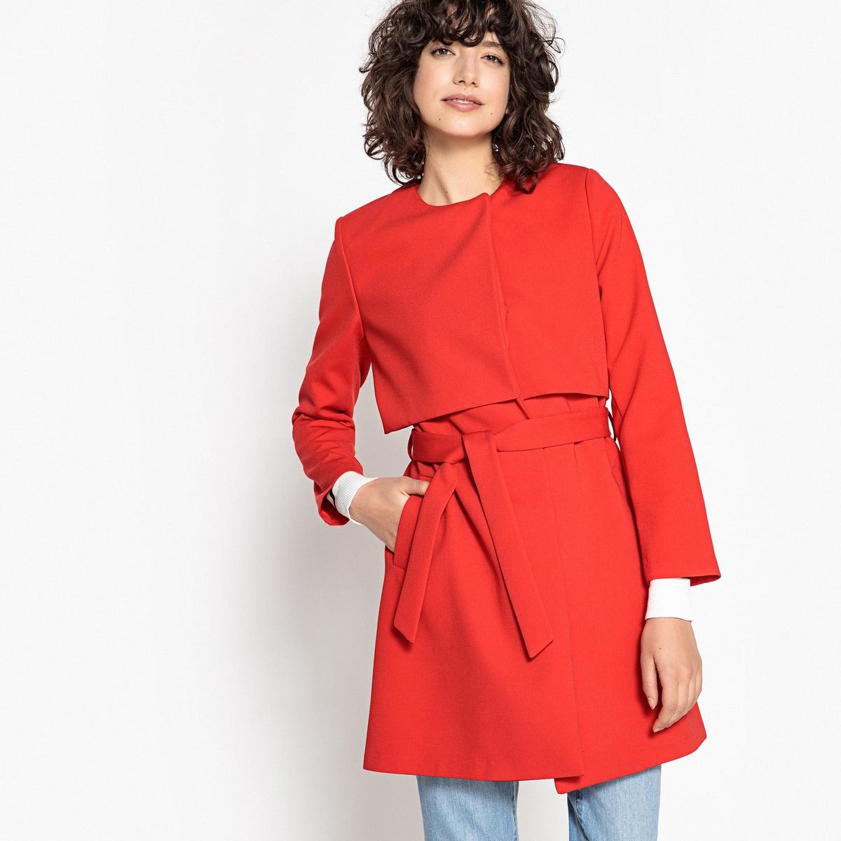 Пальто тонкое с поясом