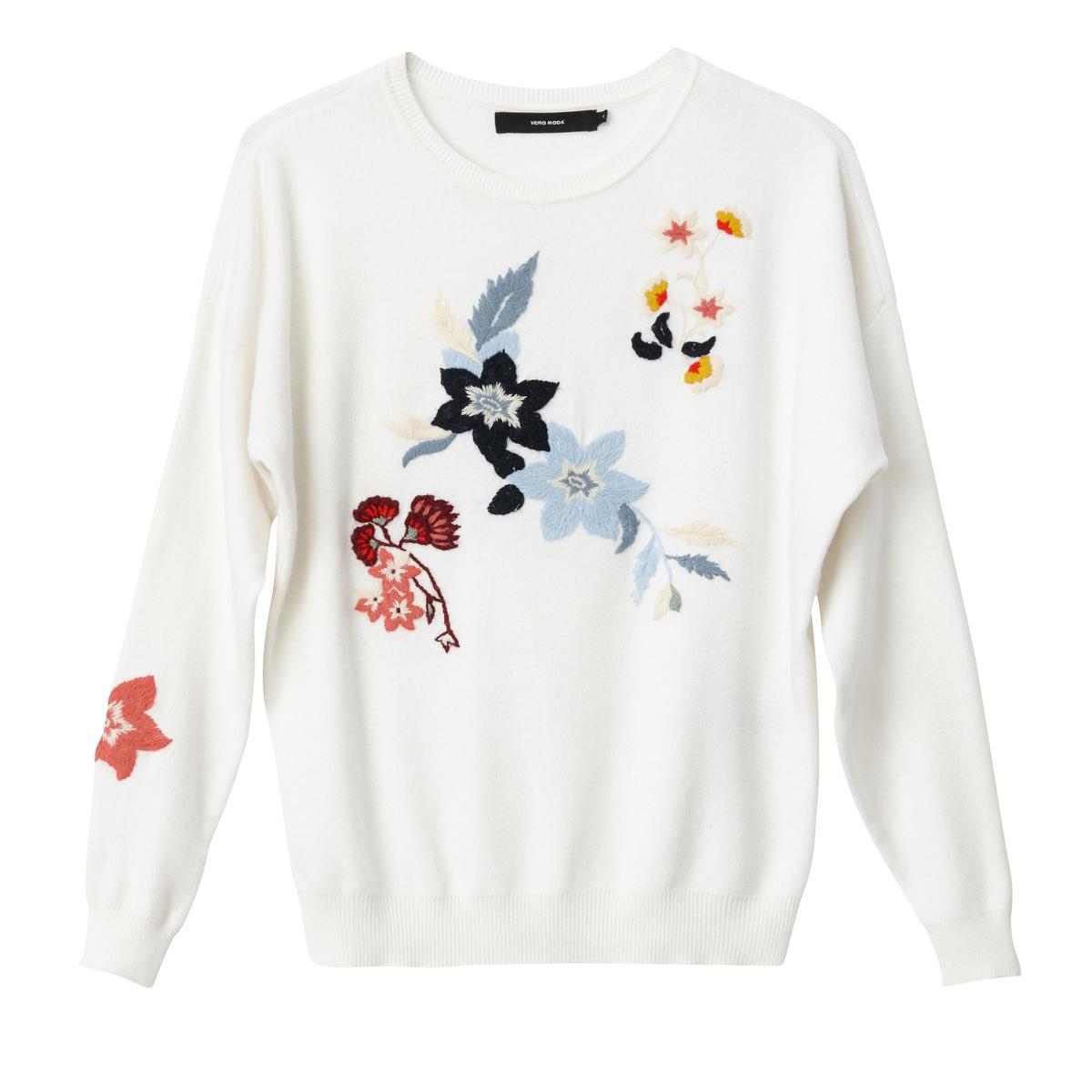 Пуловер с круглым вырезом из плотного трикотажа