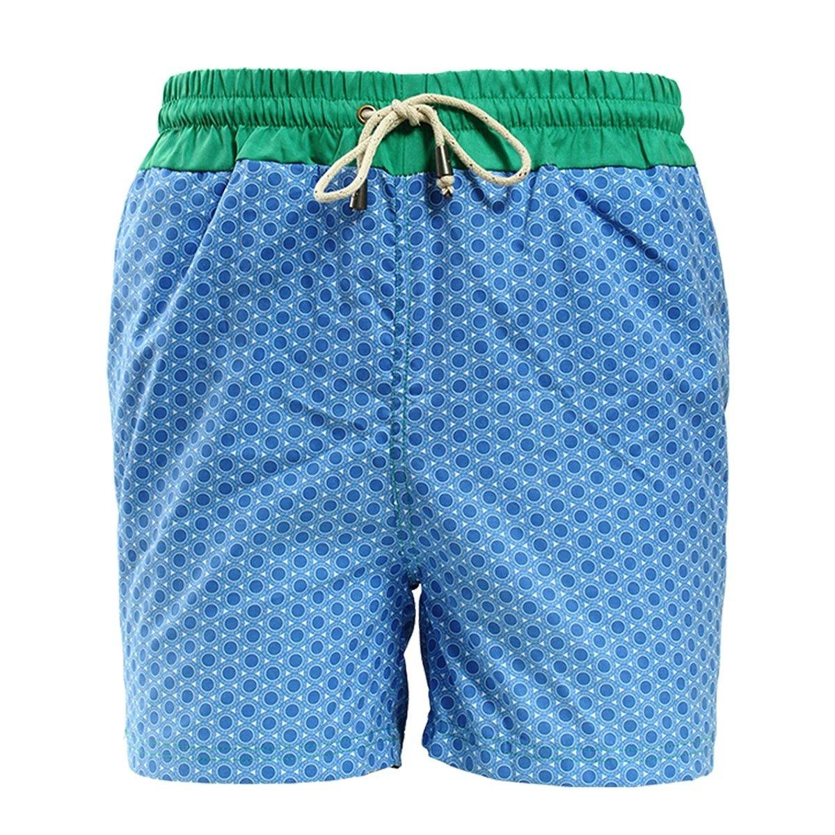 Short de bain imprimé rond bleu avec ceinture verte