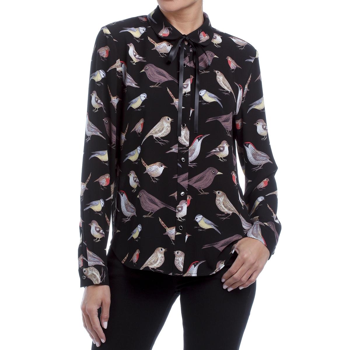 Рубашка с принтом птицы, воротник  отделкой лентами