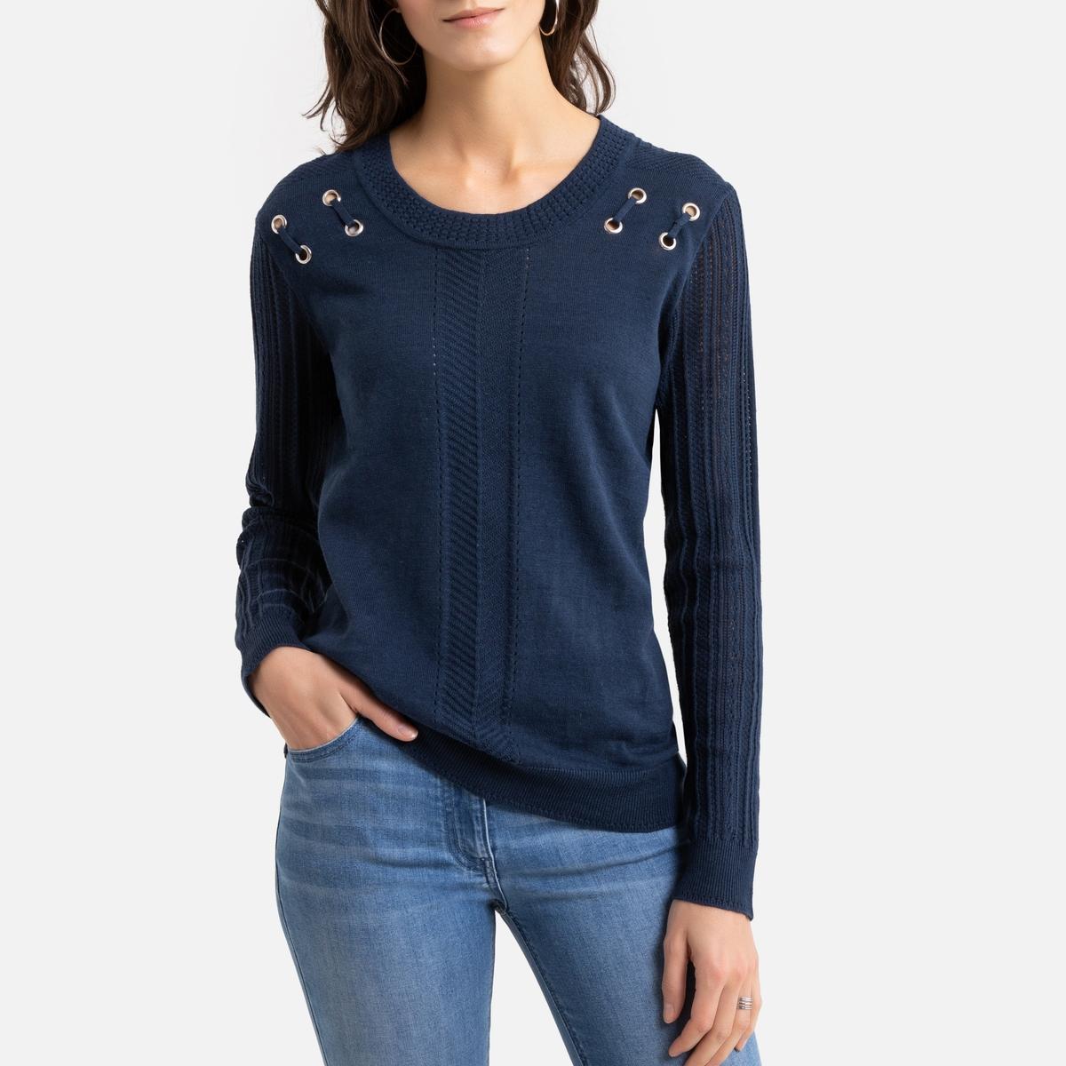 Пуловер La Redoute С круглым вырезом из тонкого трикотажа из льна и хлопка 46/48 (FR) - 52/54 (RUS) синий пуловер la redoute с капюшоном из тонкого трикотажа 42 44 fr 48 50 rus красный