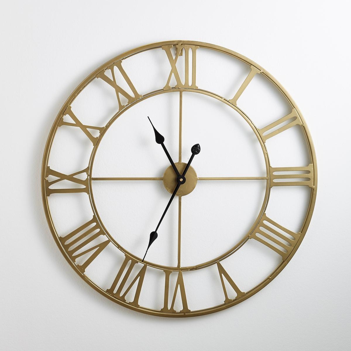 Настенные часы металлические ZivosОписание часов  Zivos:из металла, покрытого эпоксидной краской цвета латуни.Кварцевый механизм.Работают от 1 батарейки AA LRd на 1,5В, в комплект не входит.Размеры:Диаметр: 70 см.<br><br>Цвет: латунь