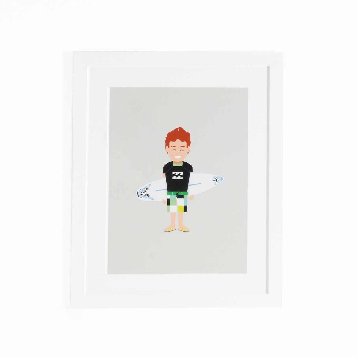 Плакат в рамке с изображением серфингиста, CoriamaiПлакат в рамке Coriamai. Для крепления на стену у детей, занимающихся спортом ! 6 плакатов со стилизованными персонажами для забавного и современного украшения комнаты (другие модели представлены на сайте).Характеристики : - Плакат из офсетной бумаги 170 г/м2- Рамка среднего размера- Оргстекло- Пластина для крепления на стену (винты и дюбели продаются отдельно)Размеры : - Ш.40 x В.50 см<br><br>Цвет: разноцветный