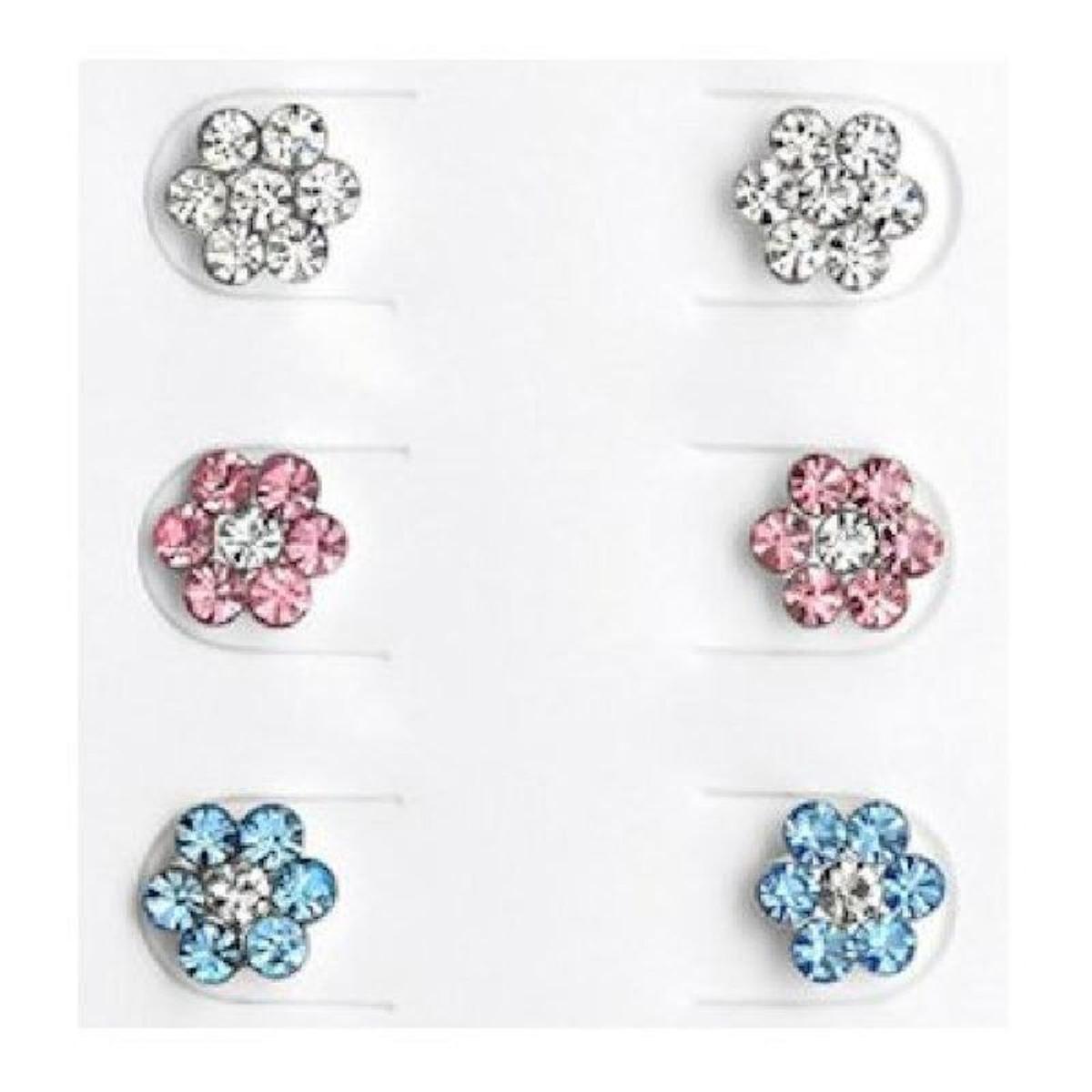 Boucles d'oreilles Ensemble Fleur Strass Blanc Rose Bleu Argent 925