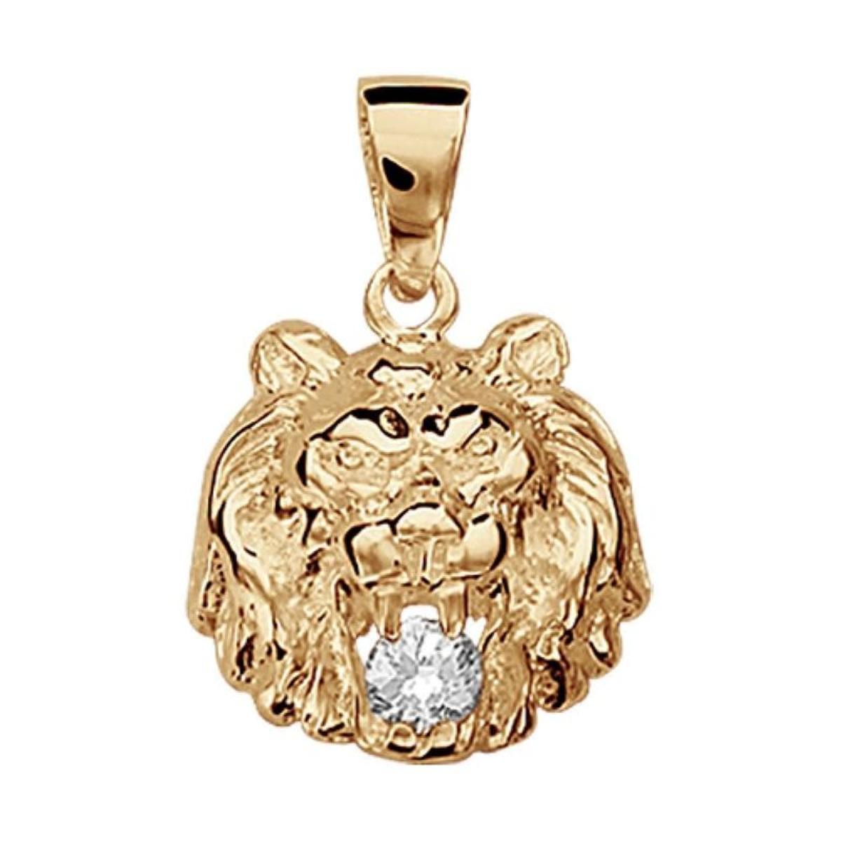 Pendentif Lion Blanc Vermeil (Or 750 sur Argent 925)