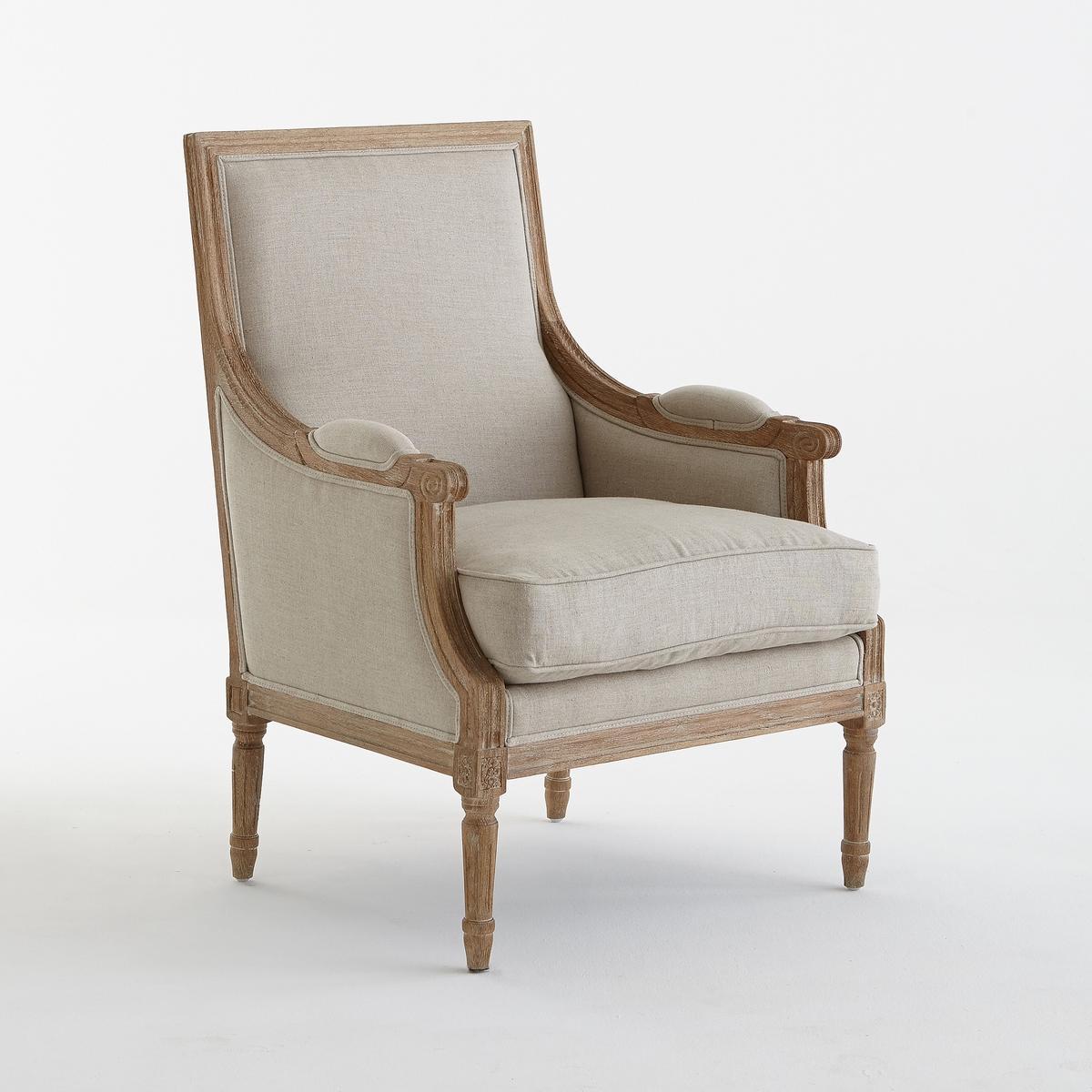 Кресло La Redoute Глубокое в стиле Людовика XVI Nottingham единый размер каштановый 2 стула в стиле людовика xvi nottingham