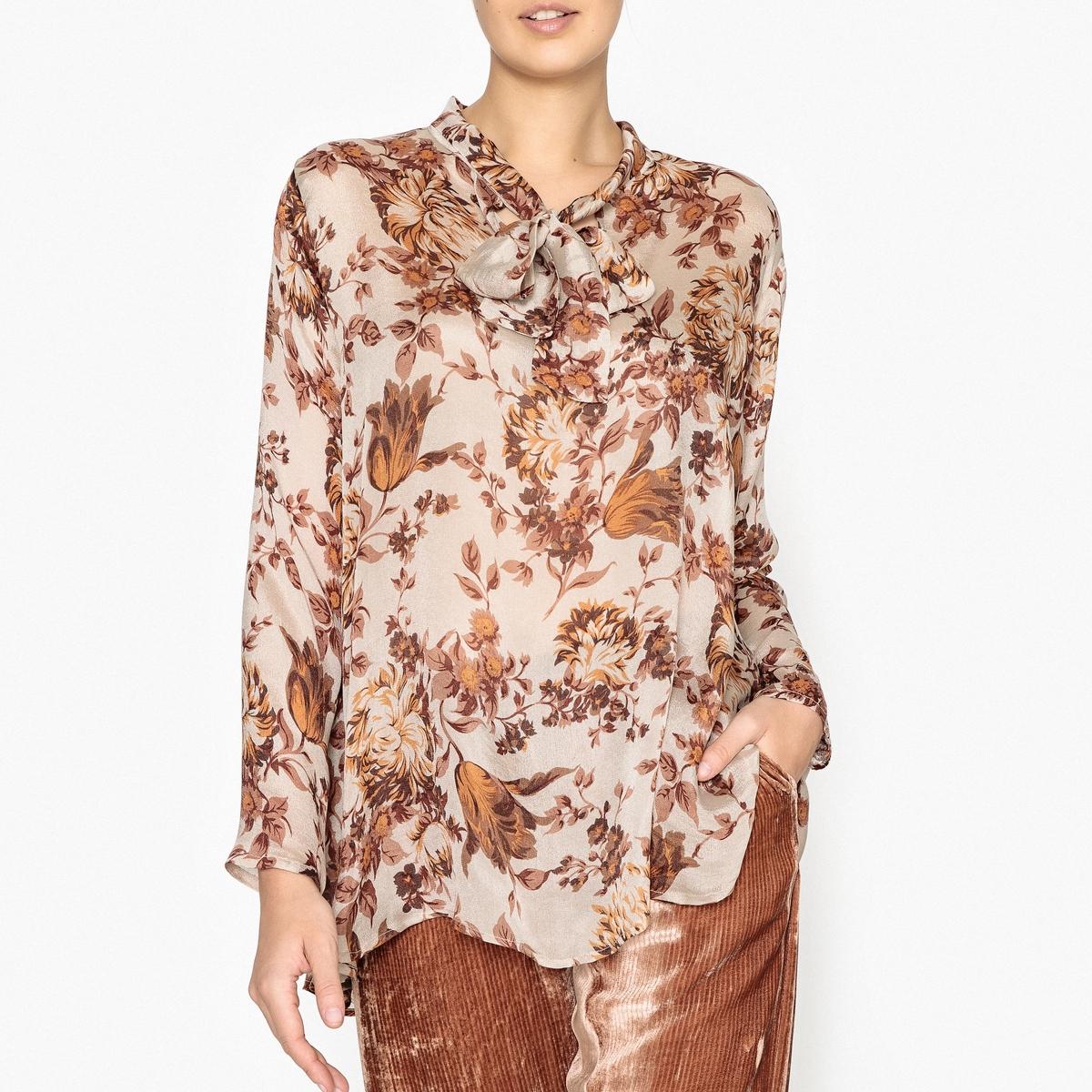 Блузка шелковая с рисунком FRAGON