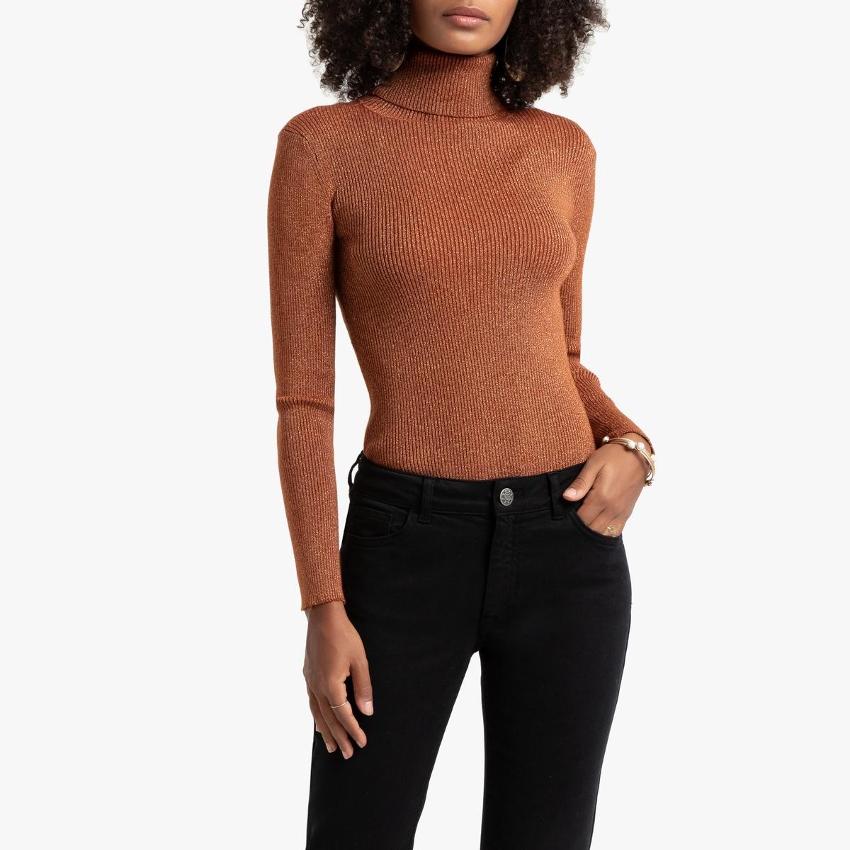 Пуловер La Redoute С воротником-стойкой из рифленого блестящего трикотажа S каштановый