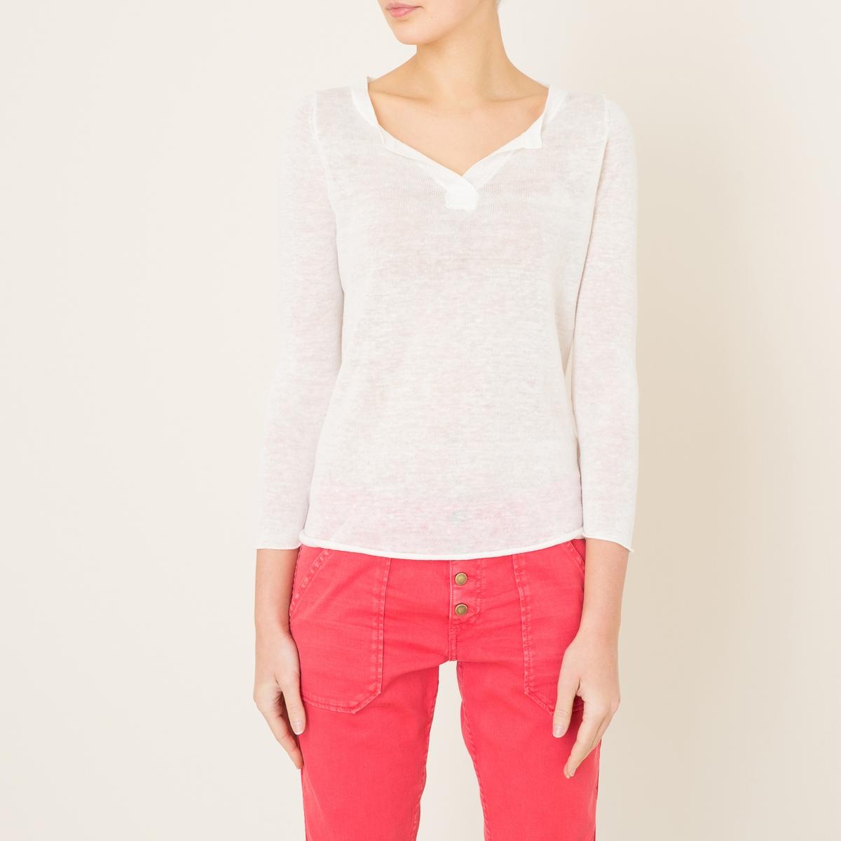 Пуловер  ERICСостав и описание    Материал : 100% лен   Марка : BERENICE<br><br>Цвет: бирюзовый,темно-синий,экрю<br>Размер: L