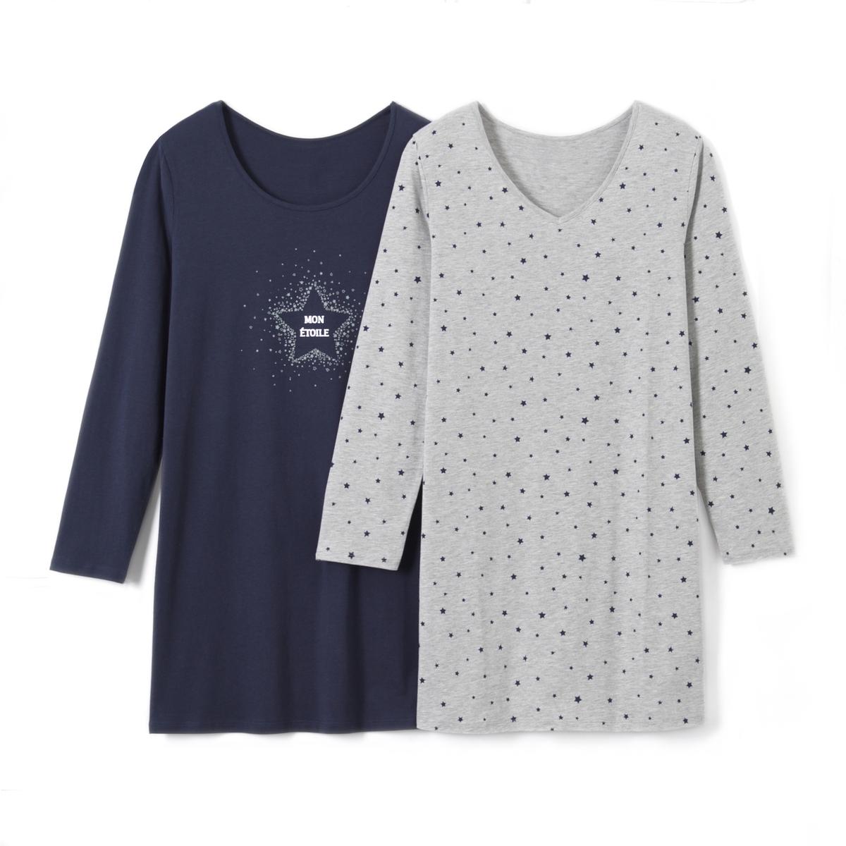 2 сорочки ночные с набивным рисунком
