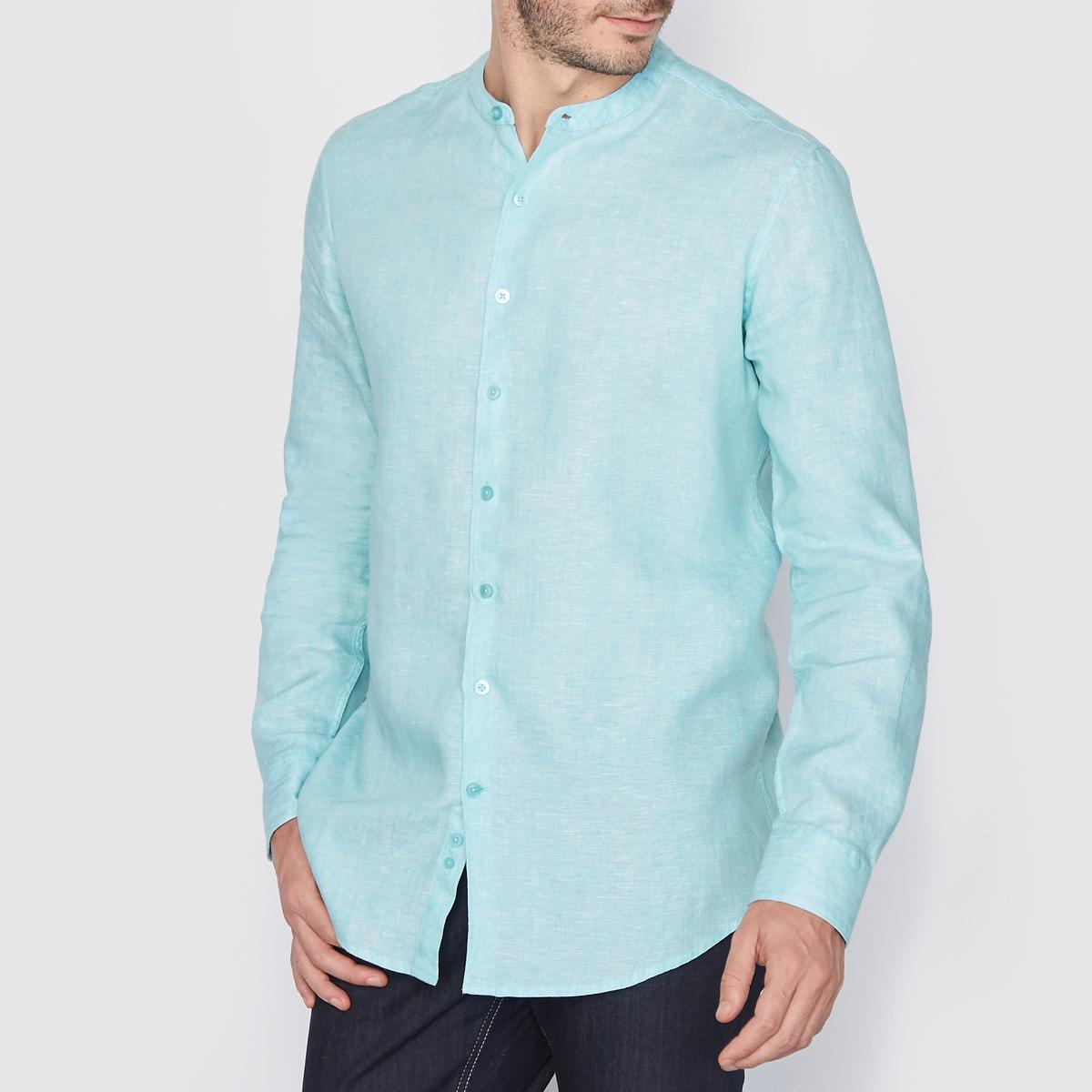 Рубашка прямого покроя 100% ленРубашка                         100% лен  . Стандартный (прямой) покрой. длинные рукава. воротник-стойка. Длина 77 см<br><br>Цвет: белый,голубой меланж,песочный,серо-коричневый,темно-синий,черный<br>Размер: 43/44.45/46.37/38.43/44.37/38.39/40.35/36.47/48.39/40.49/50.35/36.35/36.41/42.47/48