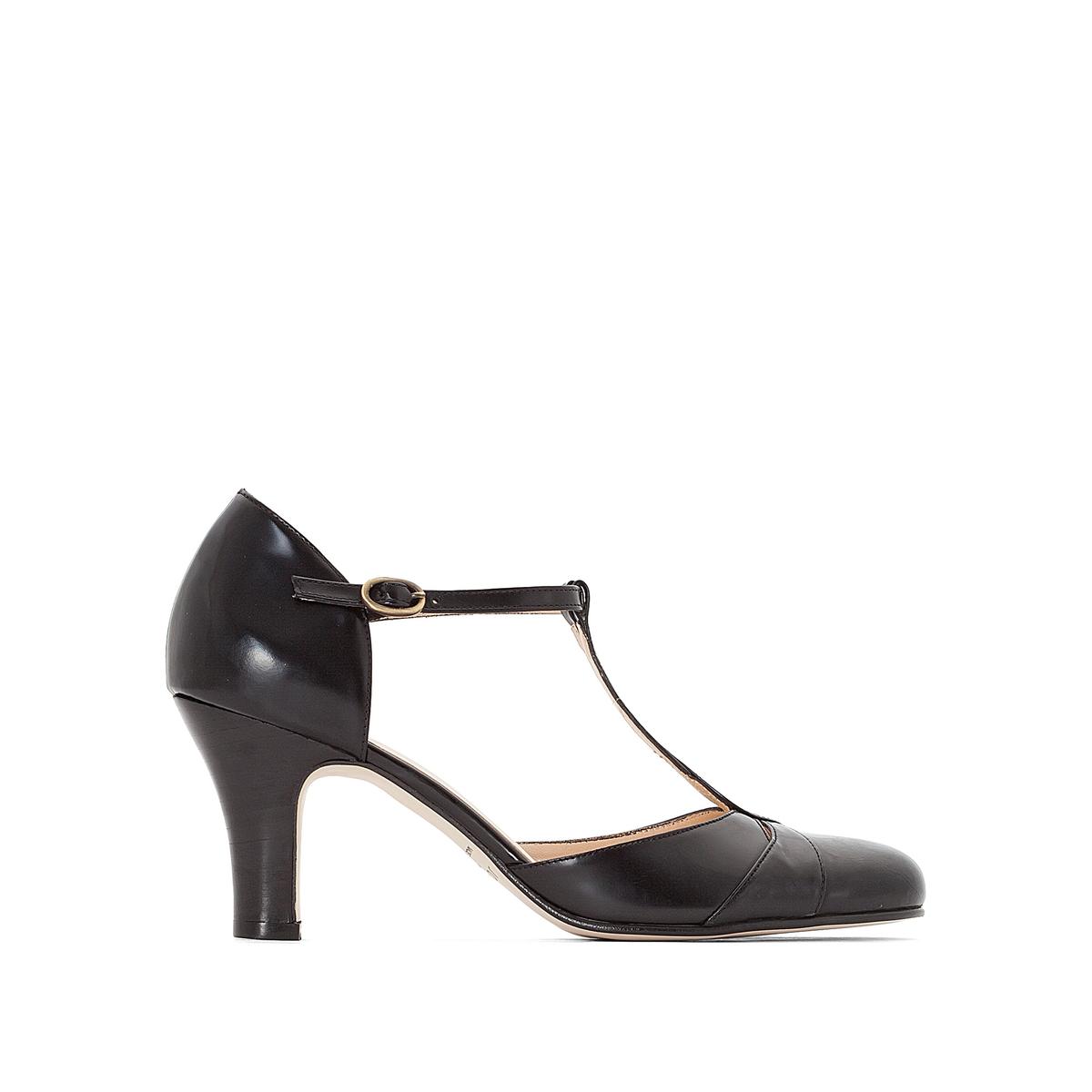 Туфли кожаные 11076Верх : Кожа   Подкладка : Кожа   Стелька : Кожа   Подошва : эластомер   Высота каблука : 5 см   Форма каблука : тонкий каблук   Мысок : закругленный   Застежка : Пряжка<br><br>Цвет: черный<br>Размер: 36