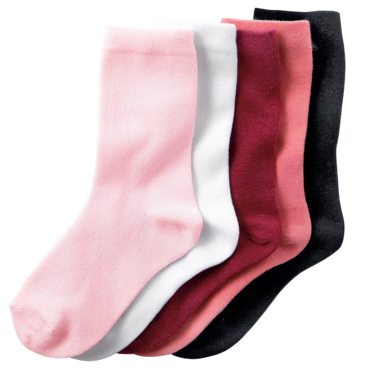 5 пар низких носковНоски низкие однотонные. В комплекте 5 пар носков.Состав и описание : Материал       78% хлопка, 20% полиамида, 2% эластанаМарка       R ?dition Уход :Машинная стирка при 30°C с вещами подобных цветов.Стирать, предварительно вывернув на изнанку.Машинная сушка запрещена.Не гладить.<br><br>Цвет: белый + розовый + черный<br>Размер: 19/22