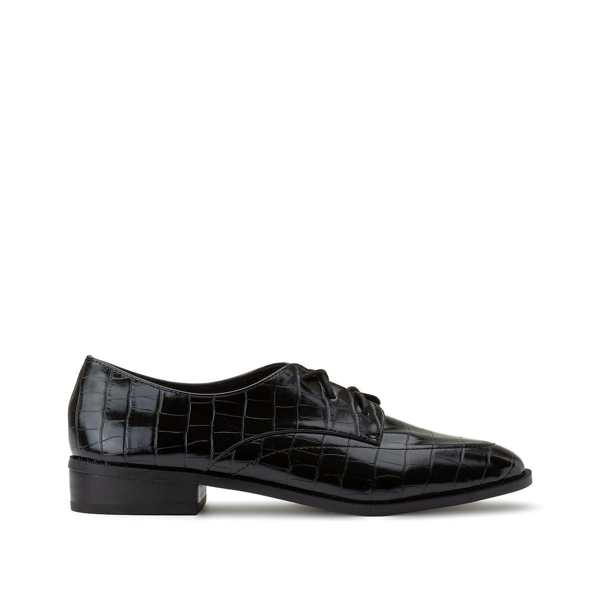 Туфли LaRedoute - дерби с эффектом крокодиловой кожи 39 черный недорого