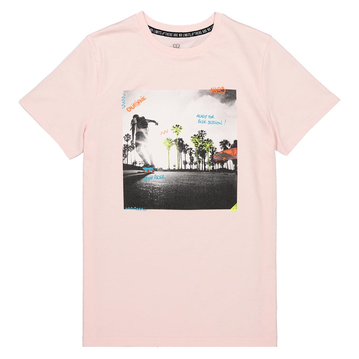 T-shirt de gola redonda, impressão fotográfica, 10-16 anos
