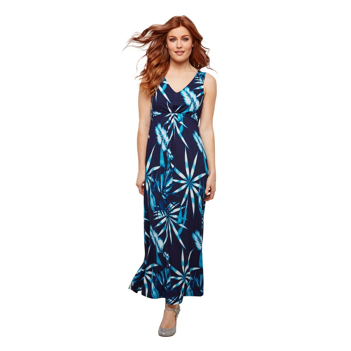 Платье La Redoute Длинное без рукавов с V-образным вырезом и графическим рисунком 44 (FR) - 50 (RUS) синий платье короткое с графическим рисунком без рукавов