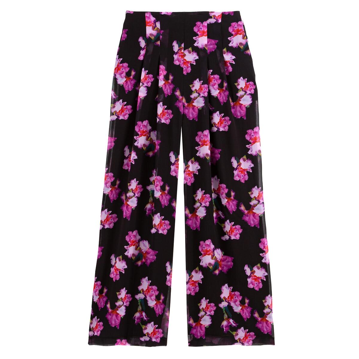 Calças largas, estampado floral