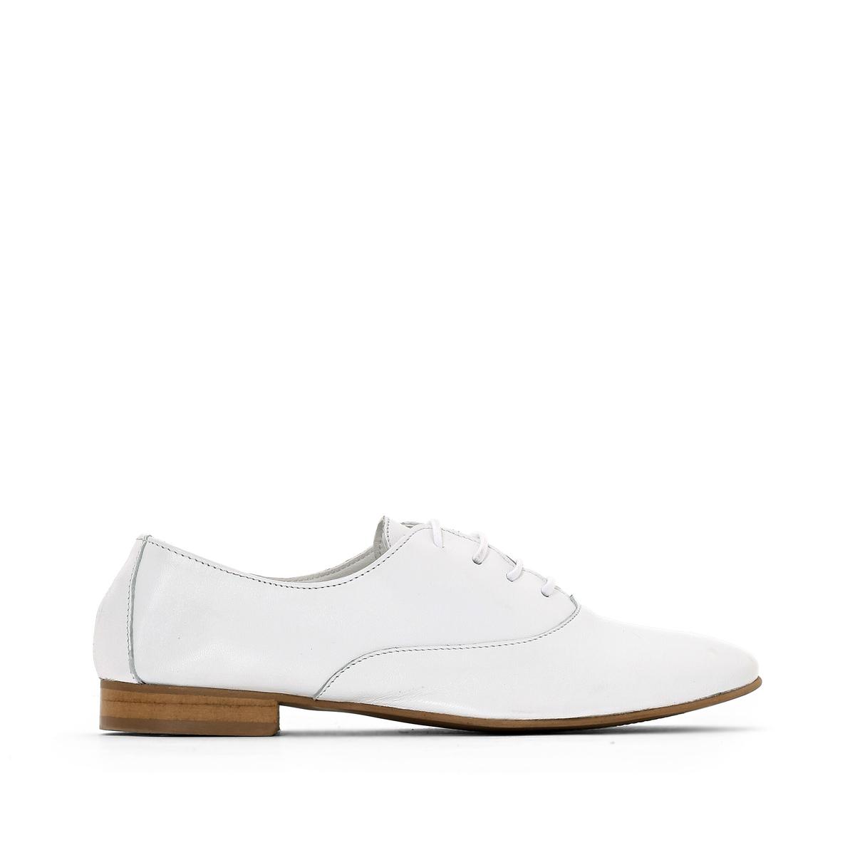 Ботинки-дерби La Redoute Из мягкой кожи 36 белый