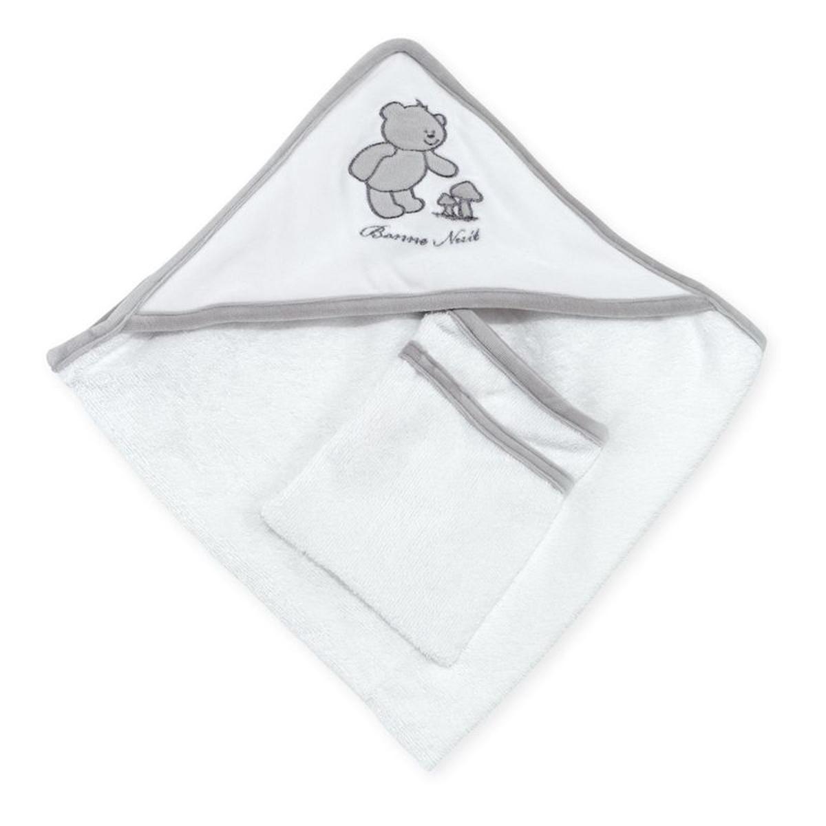 Cape de bain bébé - Avec gant de toilette  Bonne Nuit