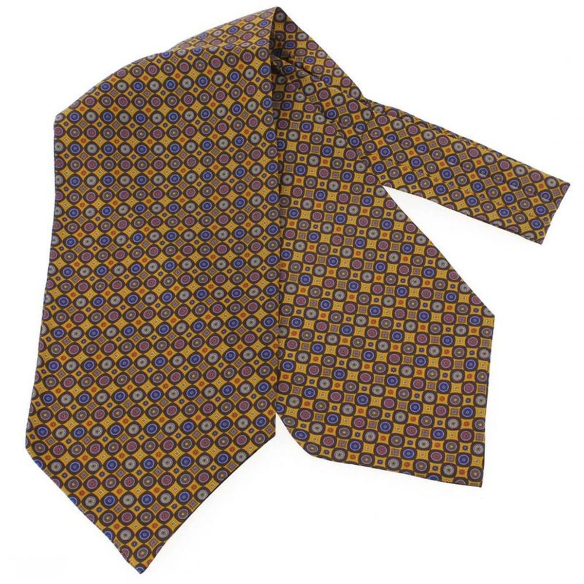 Charles Robert, Foulard Ascot soie, Victoria, cercles jaune