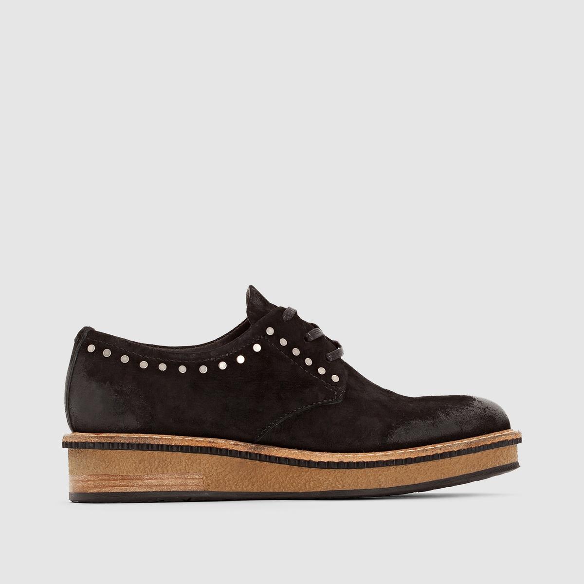 Ботинки-дерби кожаные MJUS CAVIARПреимущества : ботинки-дерби MJUS на танкетке, оригинальные заклепки.<br><br>Цвет: черный<br>Размер: 41.37