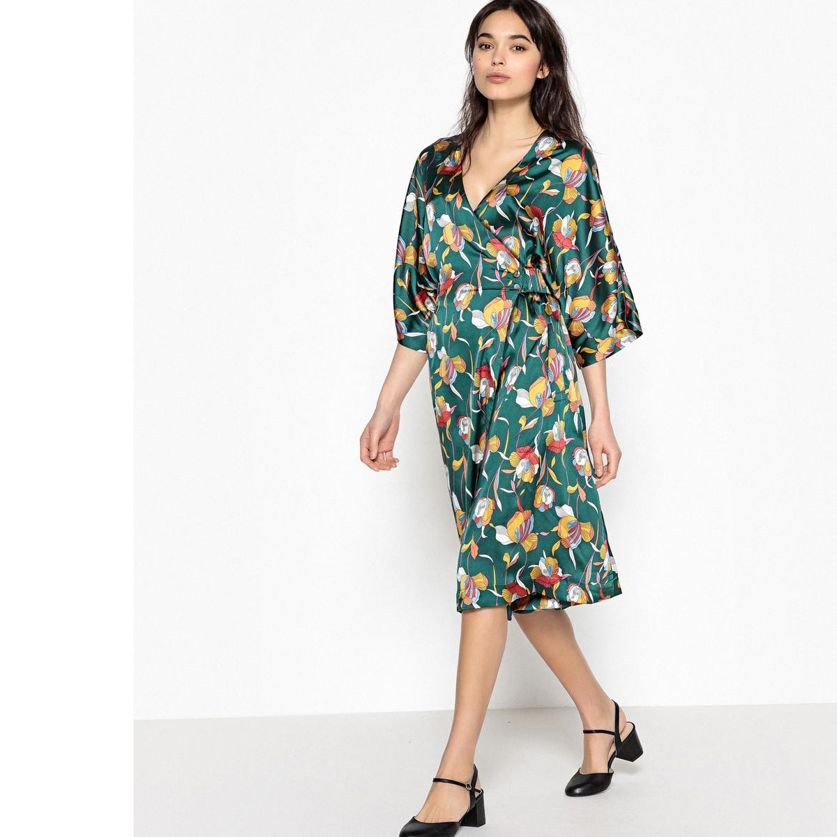 Платье атласное с запахом с карманами спереди