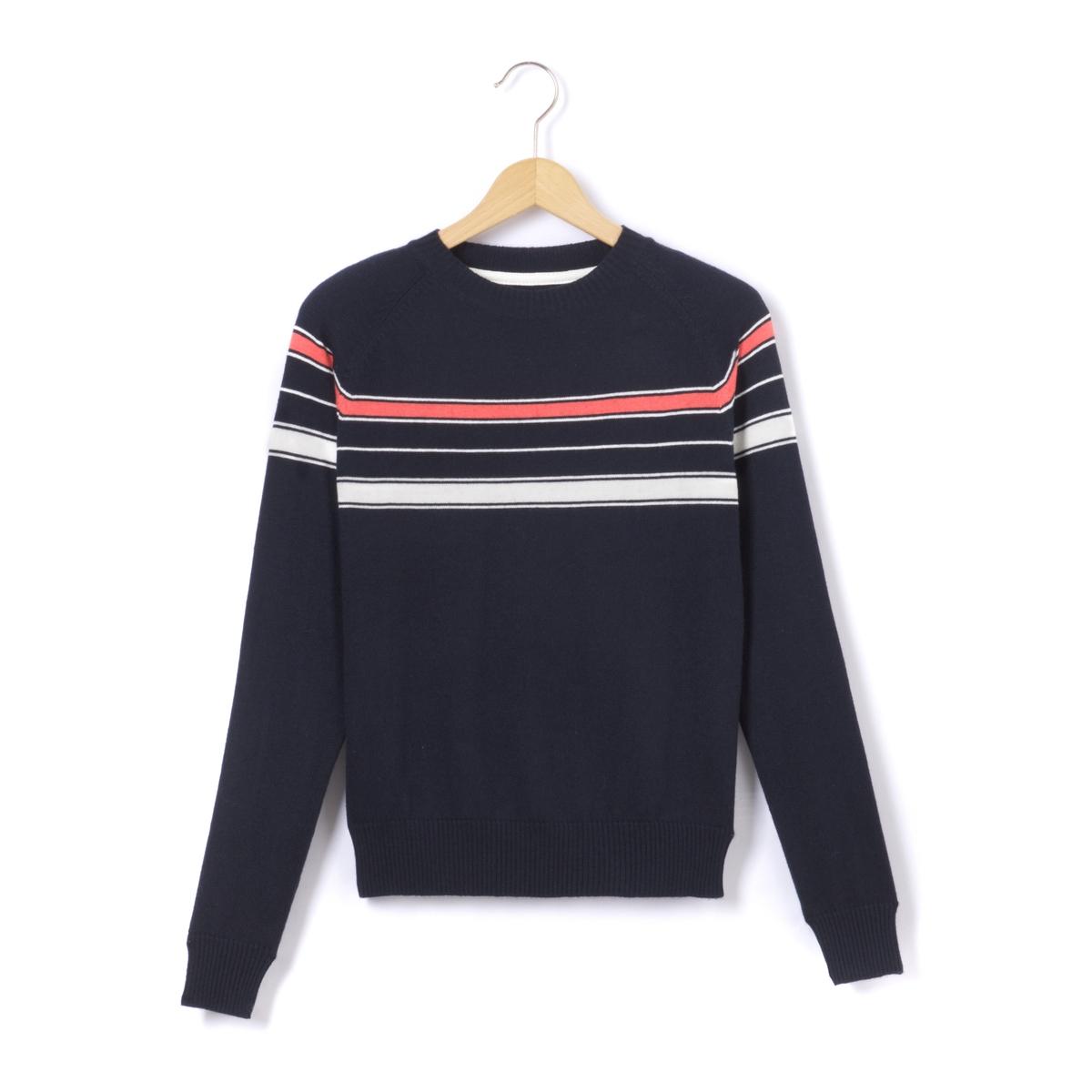 Пуловер из плотного трикотажа с круглым вырезом
