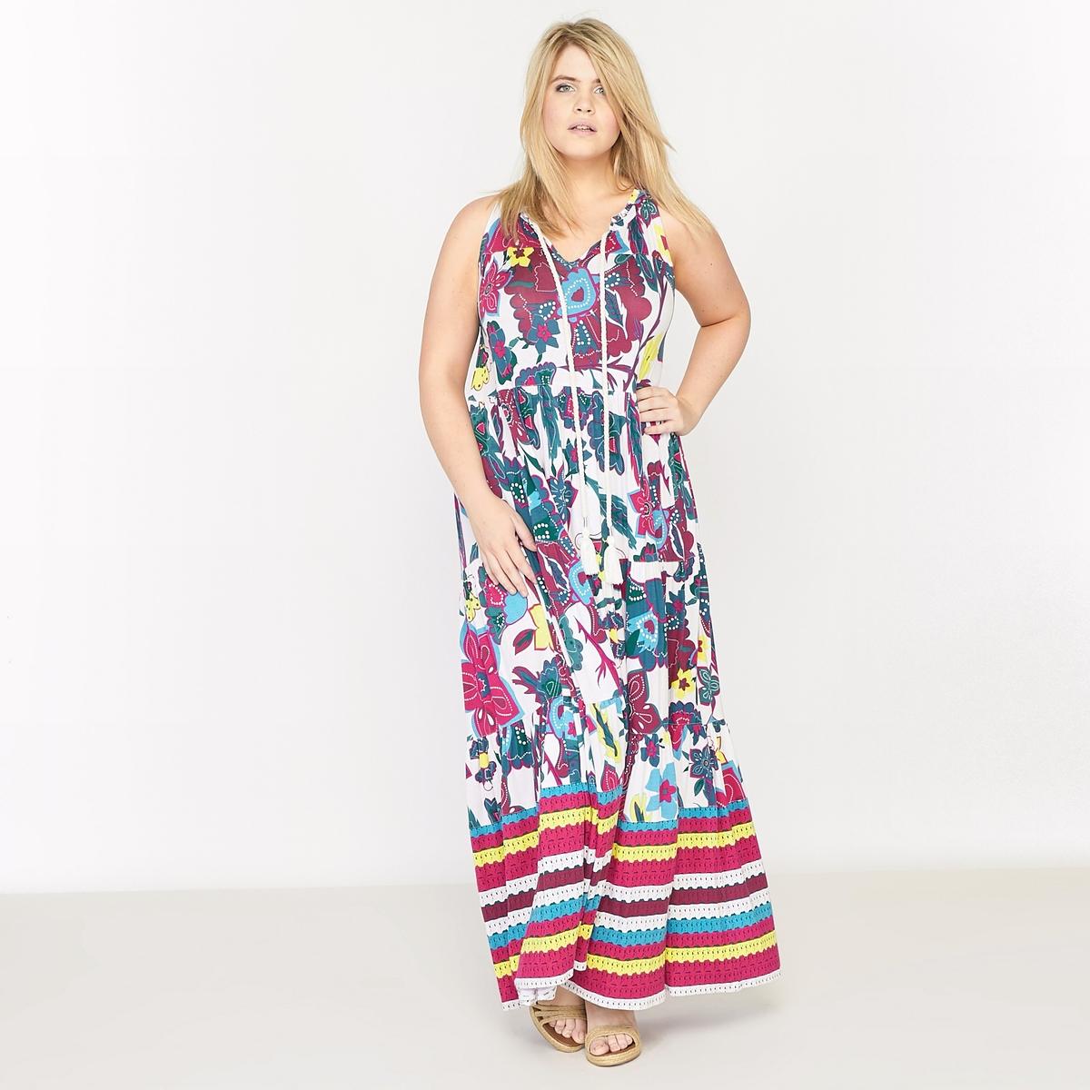 Платье-макси без рукавов из трикотажа с рисунком