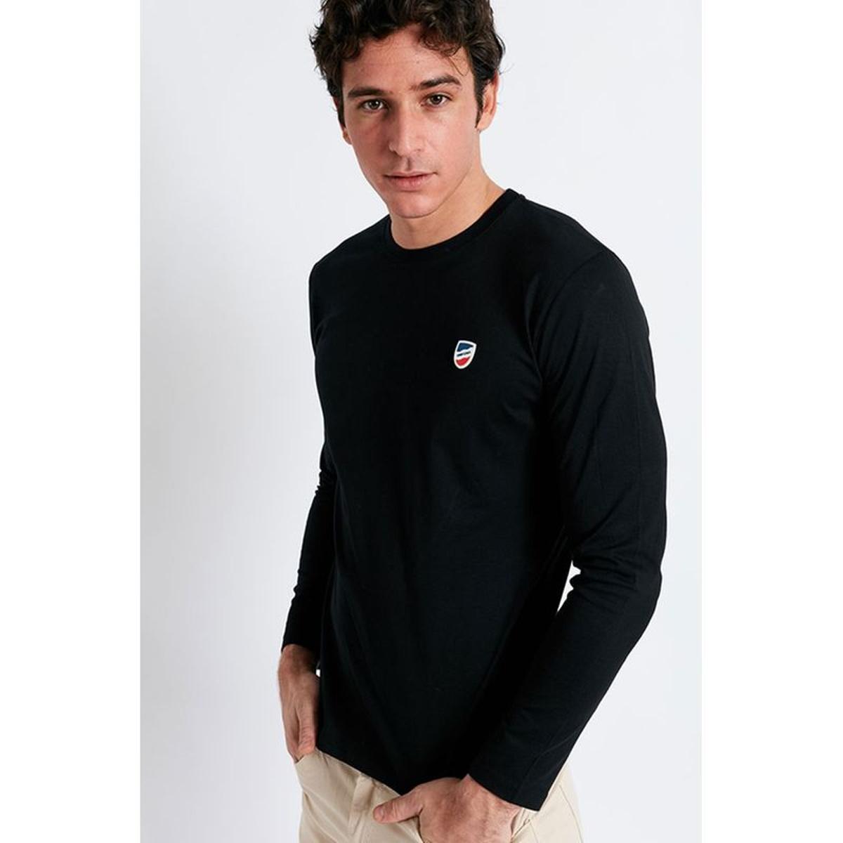 T-shirt manches longues Noir écusson silicone