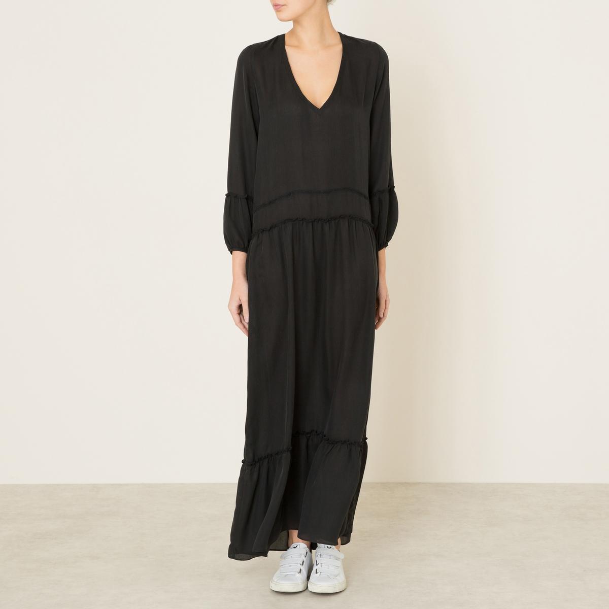 Платье длинное FAGANСостав и описание Материал : 100% шелк Марка : VALERIE KHALFON<br><br>Цвет: черный