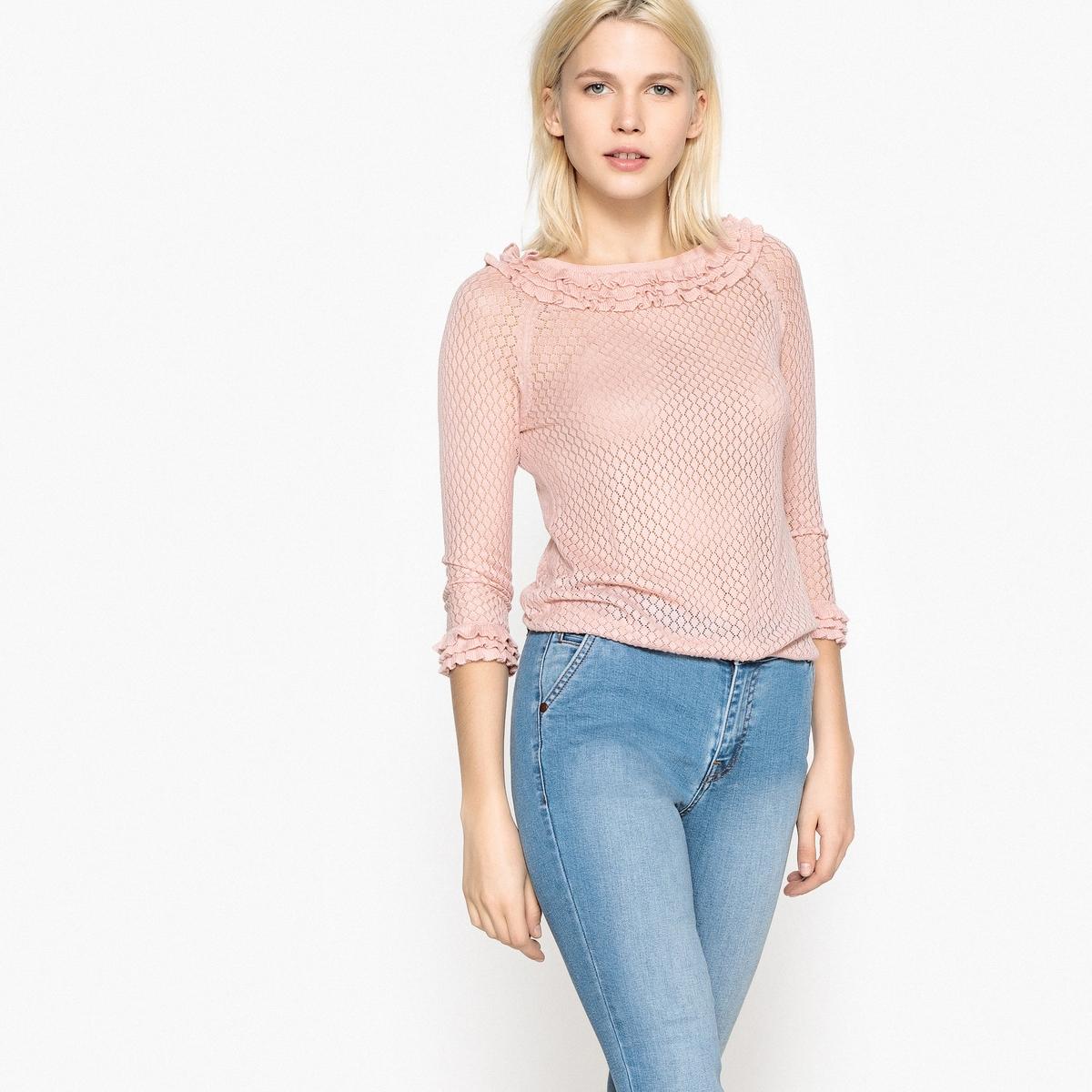 Пуловер La Redoute С вырезом-лодочкой с воланами из ажурного трикотажа S розовый наволочка la redoute из хлопковой перкали aricha 50 x 70 см розовый