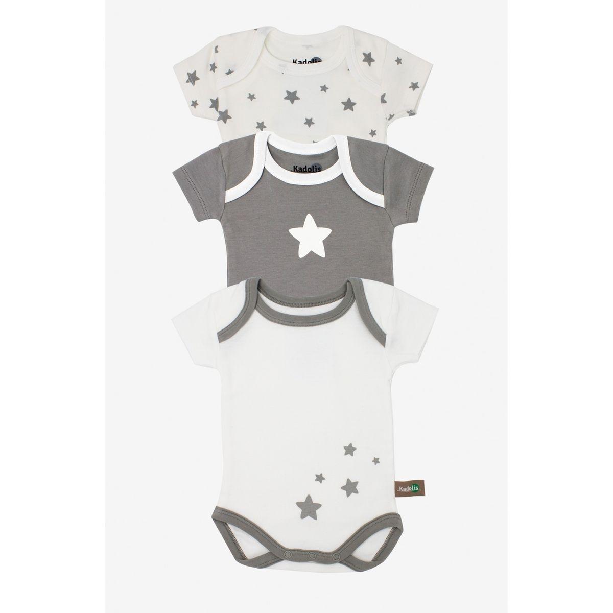Body manches courtes en coton bio à motifs étoiles (lot de 3)