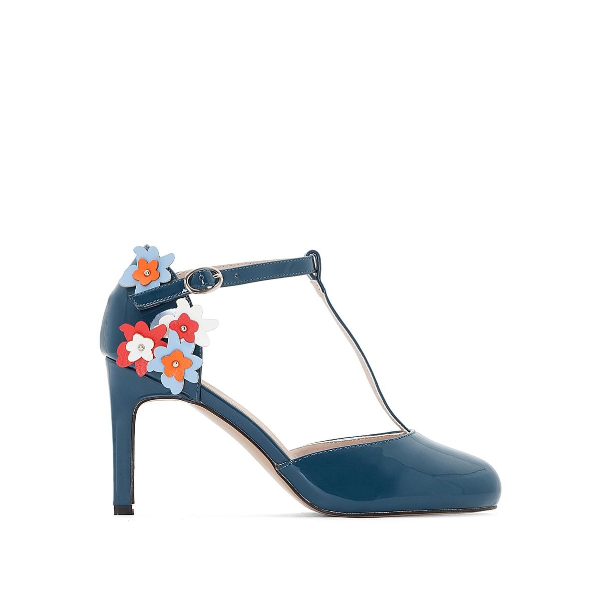 zapatillas Zapatos de tac?n T bar con detalles de flores