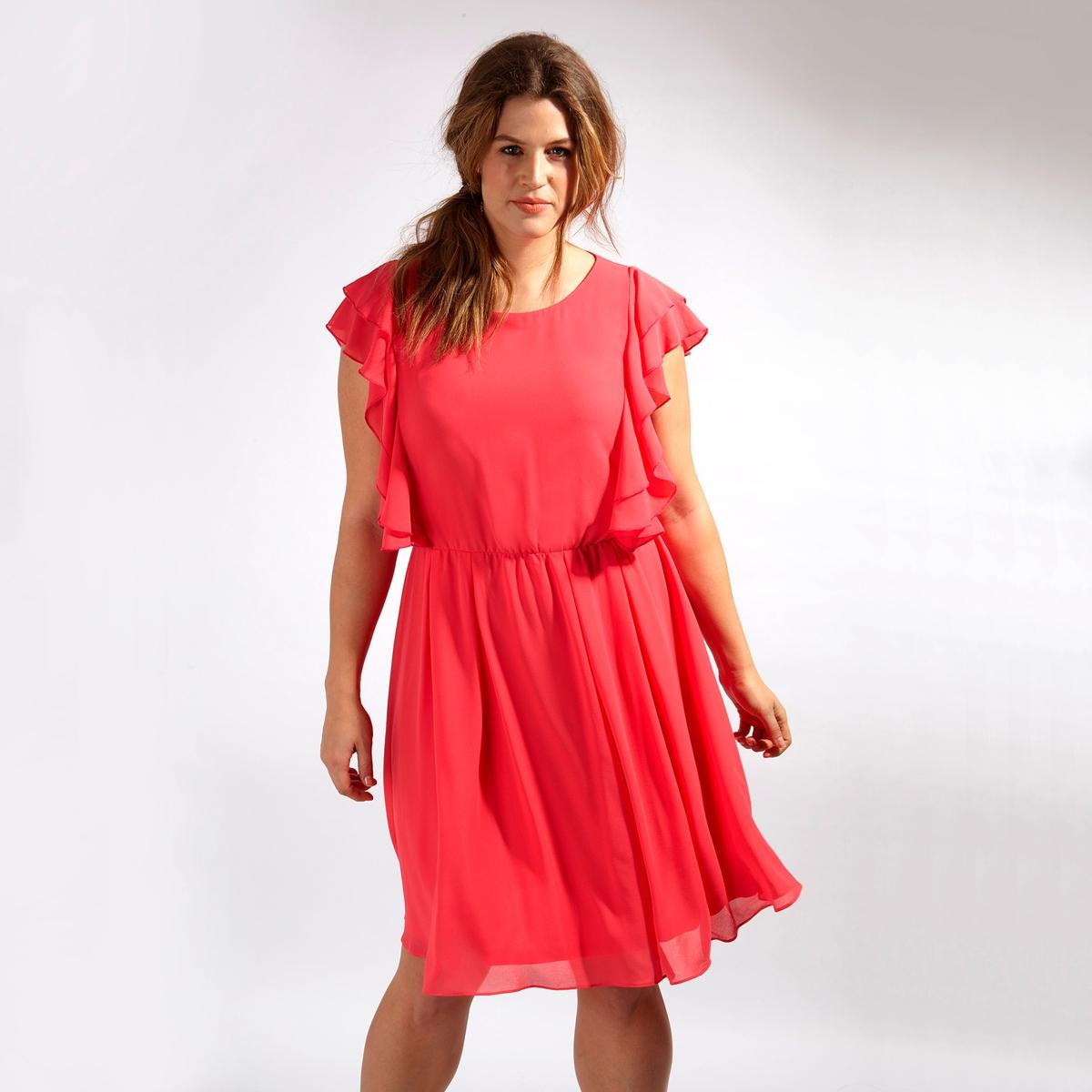 ПлатьеПлатье - KOKO BY KOKO. Застежка на молнию сзади. Длина до колен. 100% полиэстер<br><br>Цвет: малиновый<br>Размер: 50/52 (FR) - 56/58 (RUS).48 (FR) - 54 (RUS)