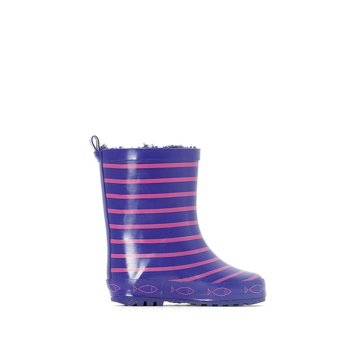 Сапоги резиновые TIMOUSS VIOLET FUSCHIAДетали   •  Резиновые сапоги •  Плоский каблук •  Круглый мысок •  Застежка : без застежки •  Высота каблука : 1 см.Состав и уход   •  Верх 100% каучук •  Подкладка 100% полиэстер •  Стелька 100% текстиль •  Подошва 100% каучук<br><br>Цвет: фиолетовый<br>Размер: 25