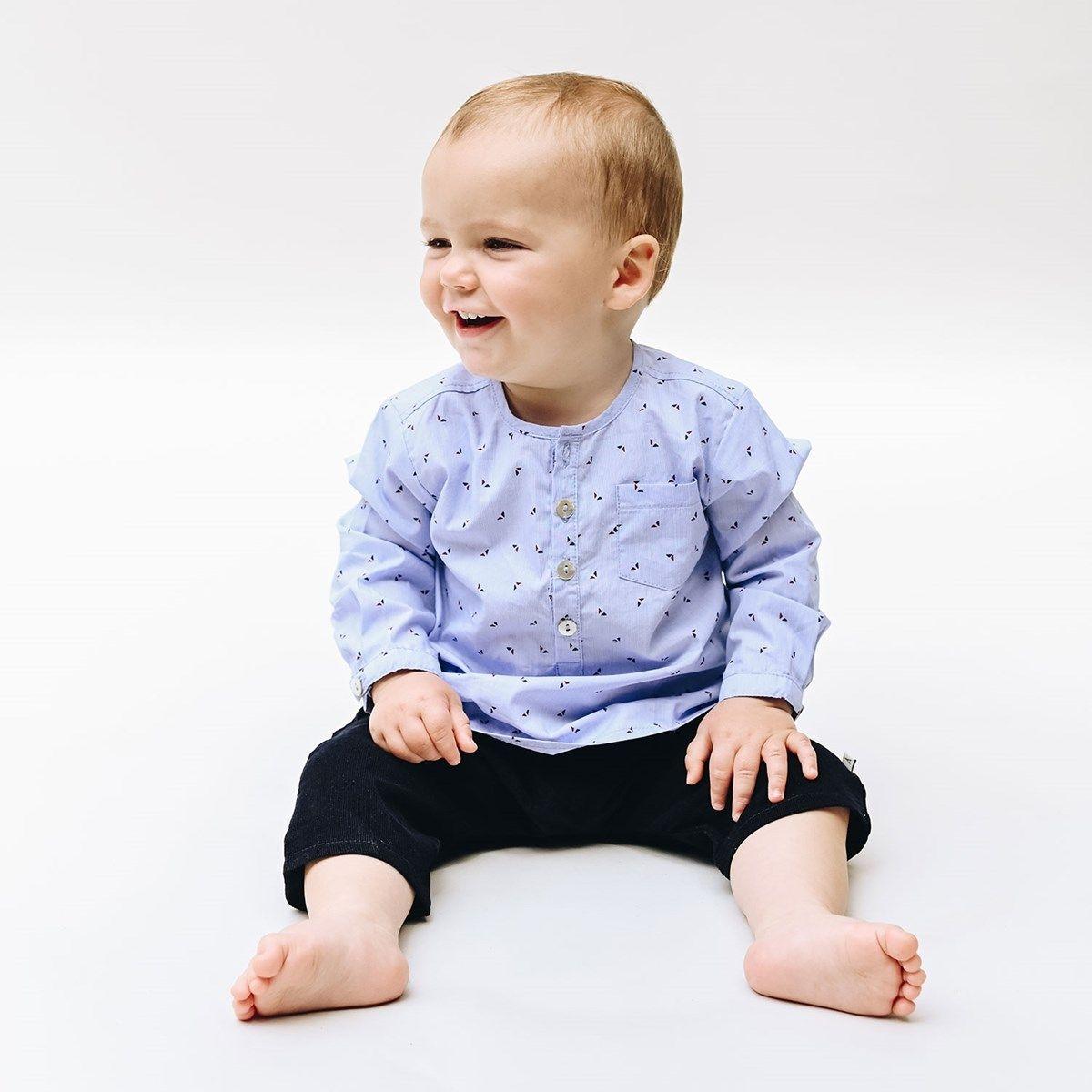 Chemise bébé garçon bleu et triangles