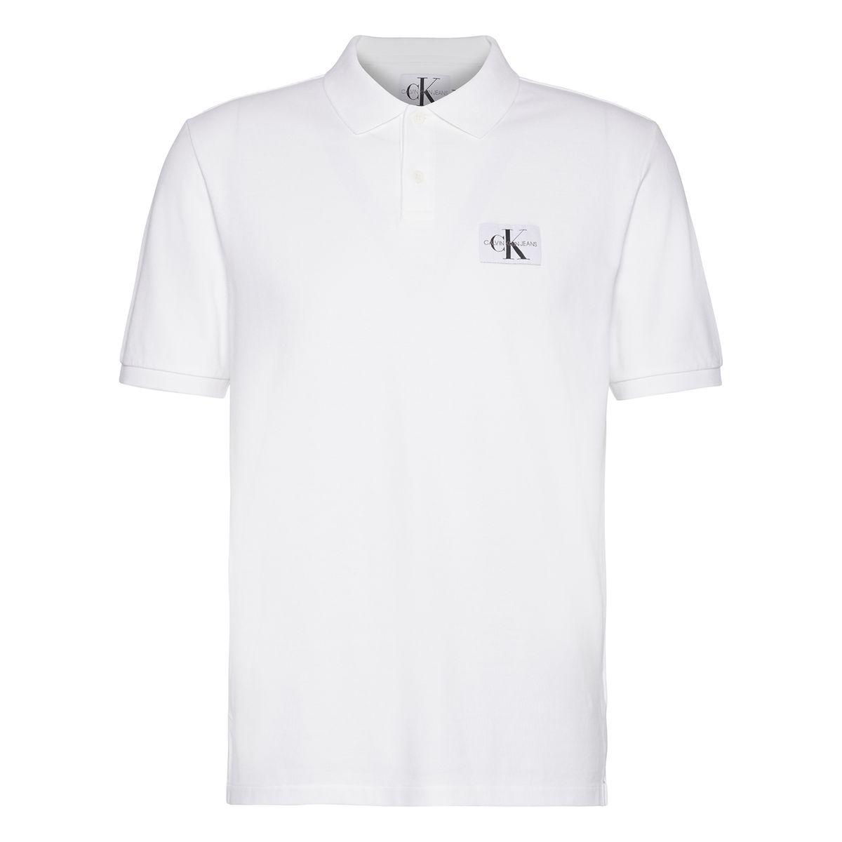 Polo manches courtes logo CK poitrine, pur coton