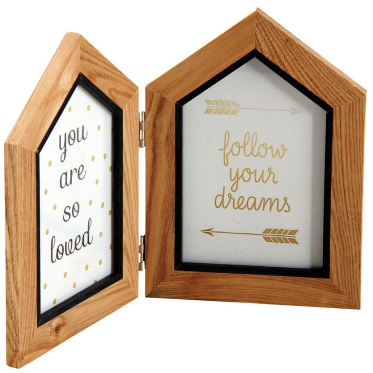 Double cadre photo en forme de maison