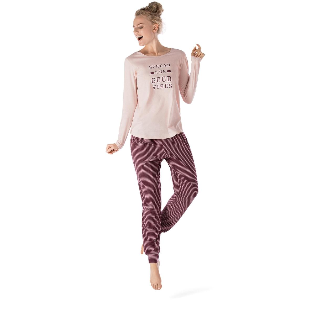 Комплект пижамный длинный College GirlСостав &amp; Детали :Основной материал брюк : 92% хлопка, 8% эластанаОсновной материал верха  : 100% хлопка Марка : SKINYУход :Машинная стирка при 30° Стирать вместе с одеждой подобных цветовСтирать и гладить с изнаночной стороныМашинная сушка и сухая чистка запрещены<br><br>Цвет: розовый/бордовый<br>Размер: 42 (FR) - 48 (RUS)