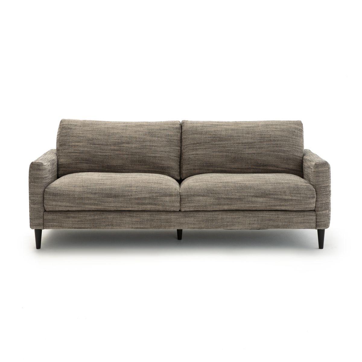Le canapé 3 ou 4 places fixe Aristote en lin épais chambray. Ce canapé, au design ultra contemporain, mise sur l'élégance de son tissu velours et sur une assise particulièrement généreuse.Fabrication française. - Confort dassise : accueil moelleux, souti