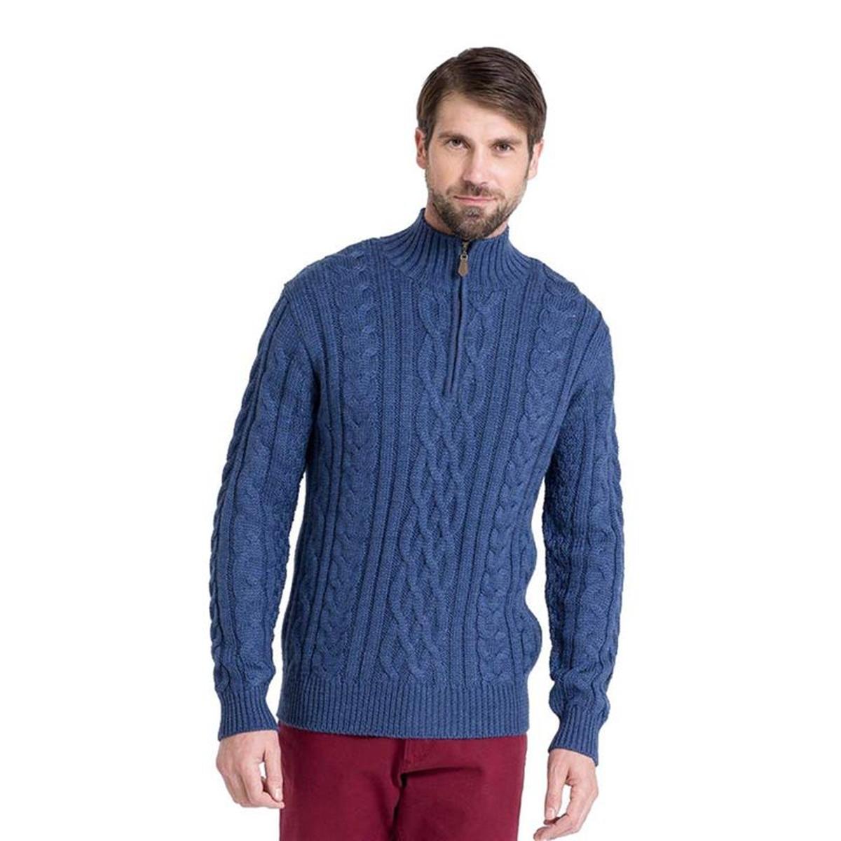 Pull irlandais en maille torsadée à col zippé en pure laine