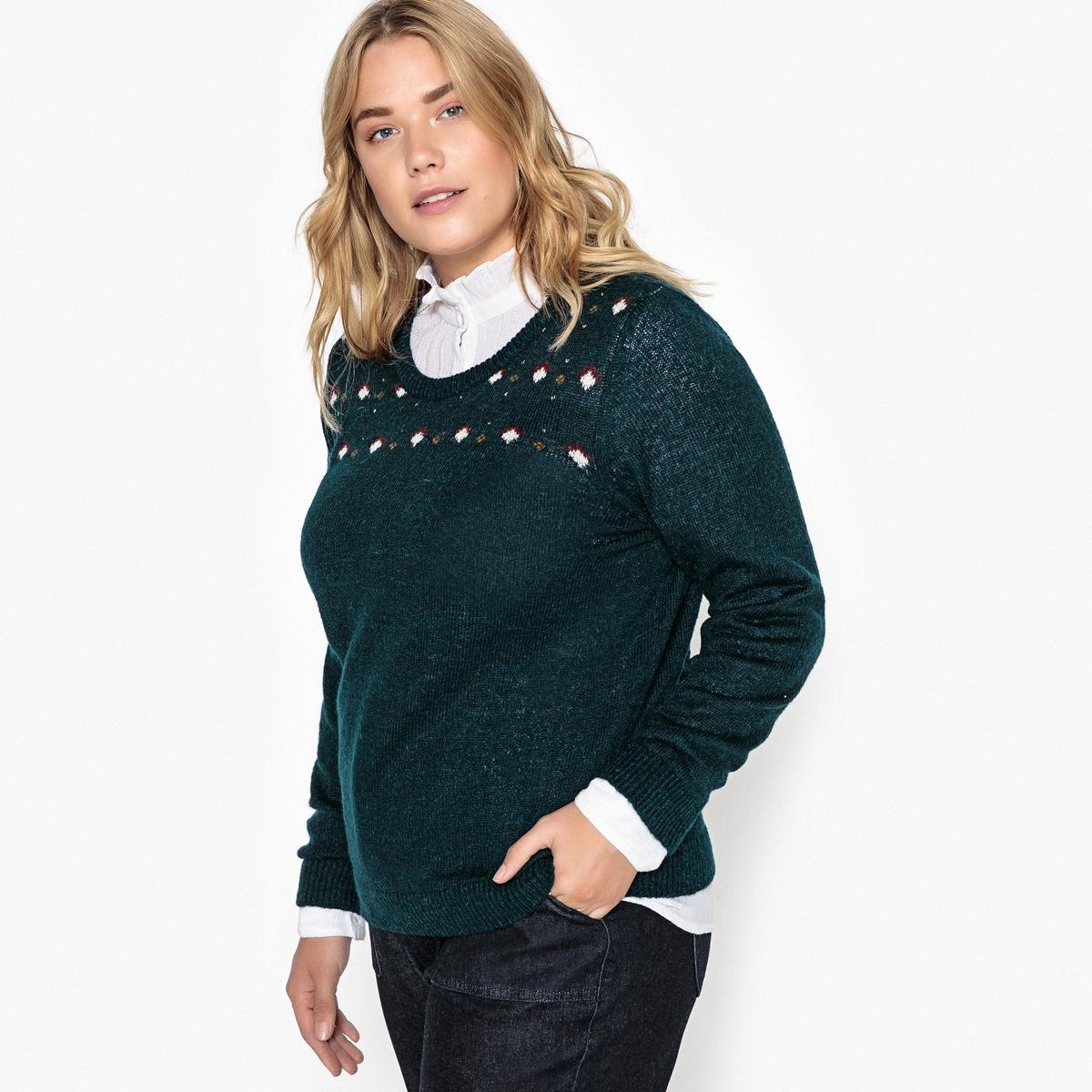 Пуловер с круглым вырезом из тонкого жаккардового трикотажа